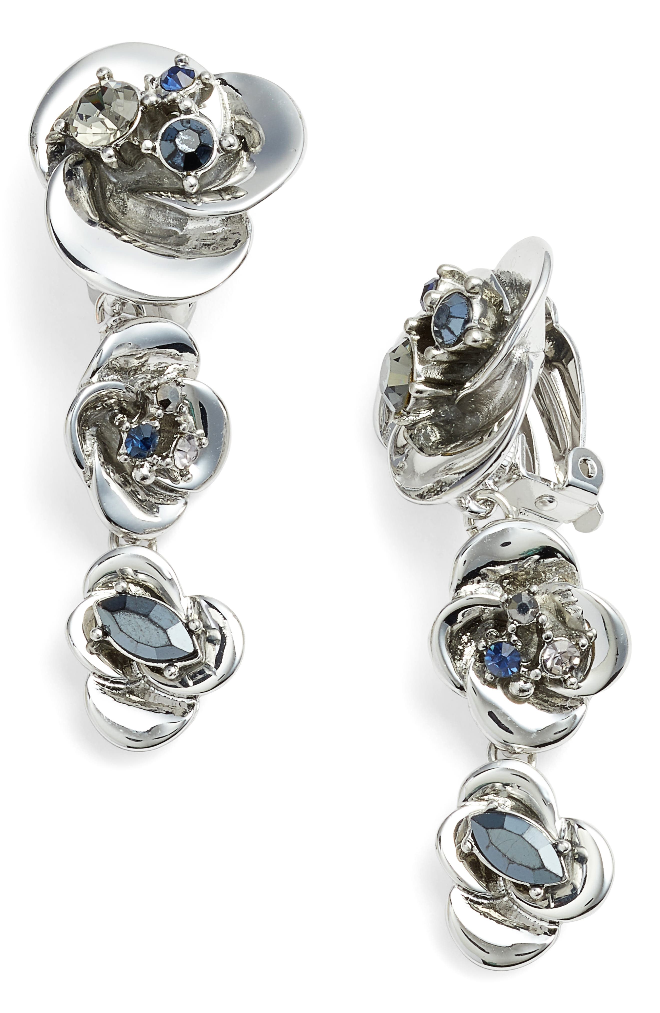 Floral Drop Earrings,                         Main,                         color, Silver