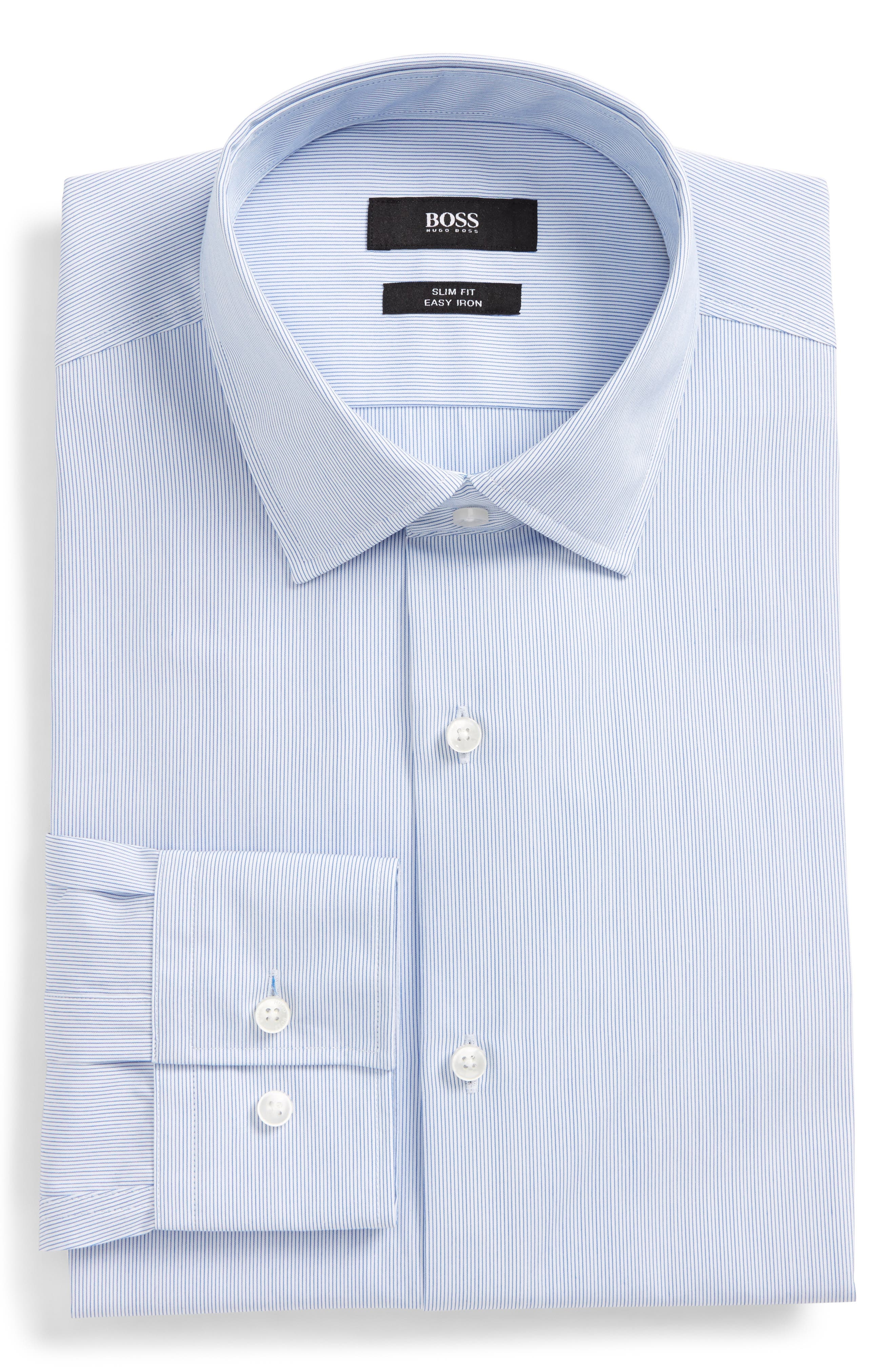 Main Image - BOSS Jenno Slim Fit Easy Iron Stripe Dress Shirt