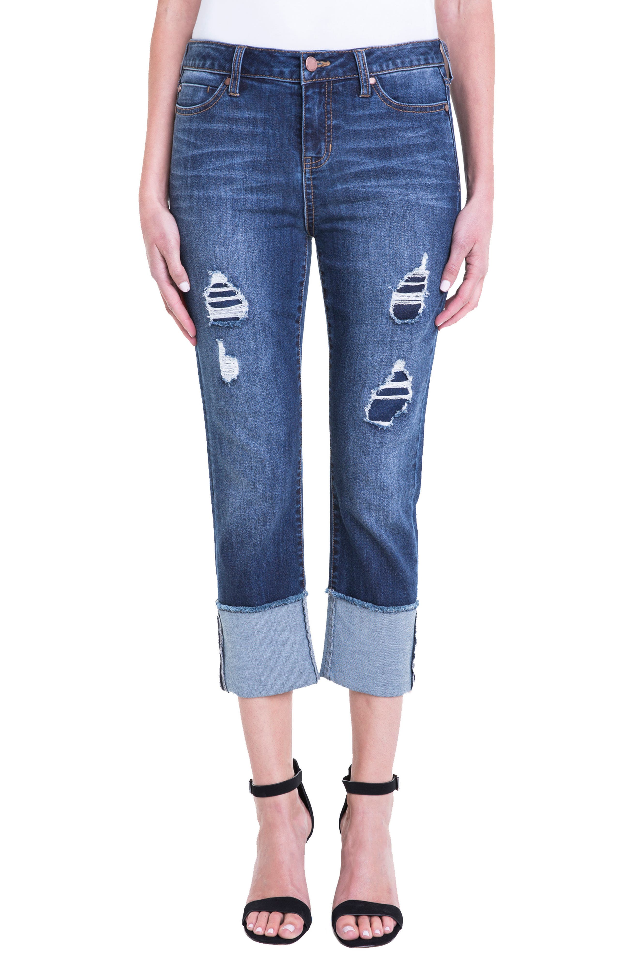 Morgan Wide Cuff Capri Jeans,                         Main,                         color, Chapman Wash