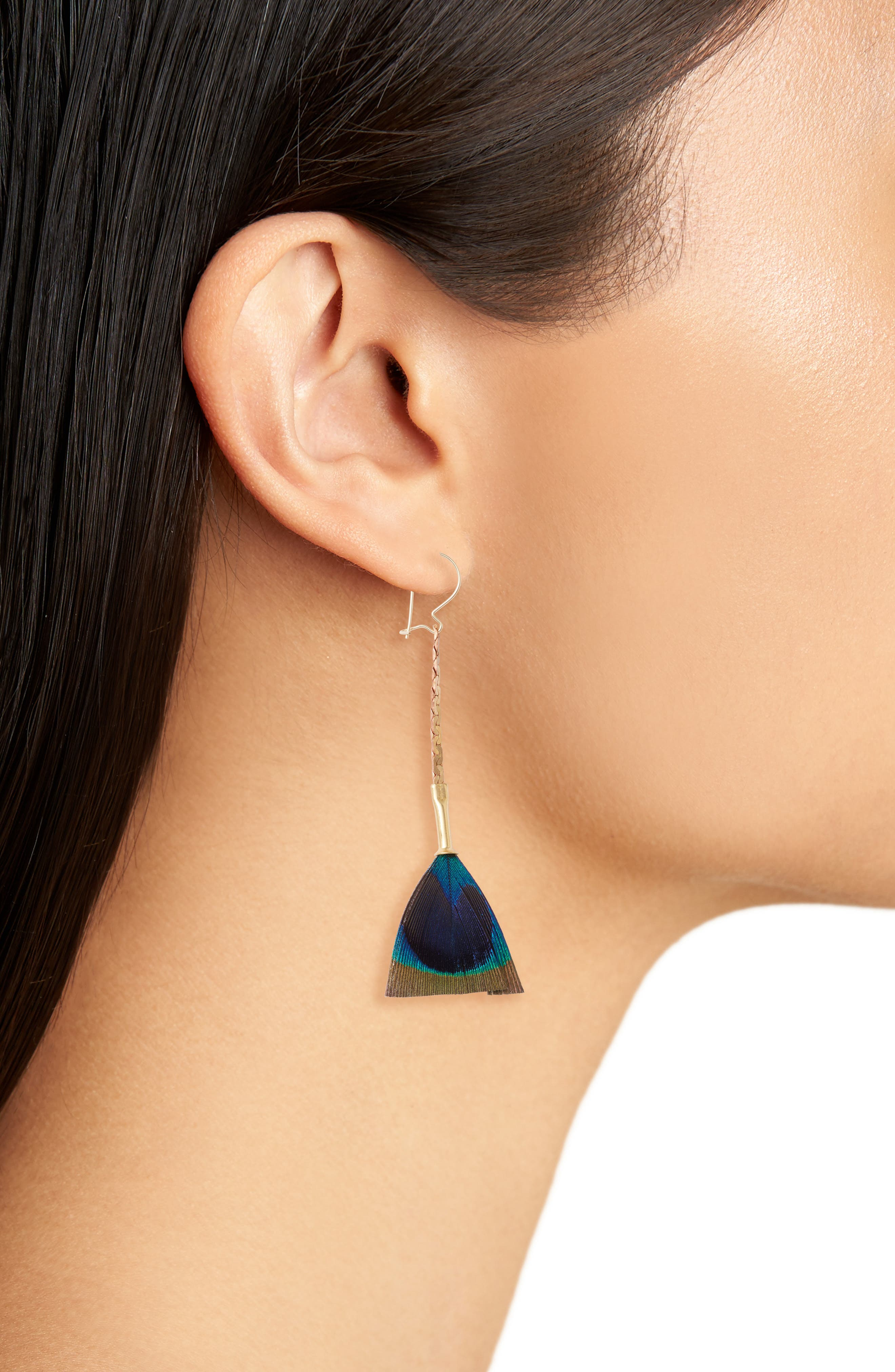 Feather Broomstick Earrings,                             Alternate thumbnail 2, color,                             Turquoise