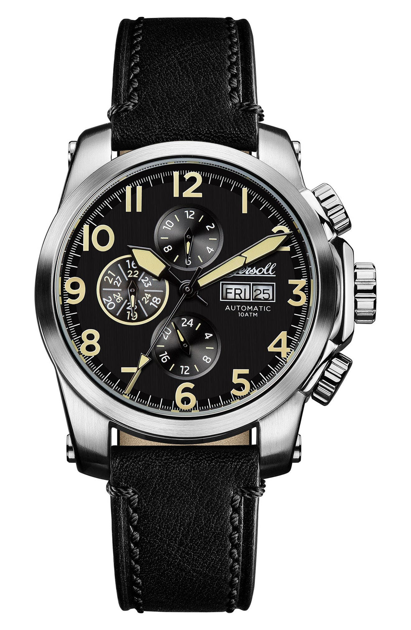 Ingersoll Manning Automatic Leather Strap Watch, 44mm,                         Main,                         color, Black/ Silver