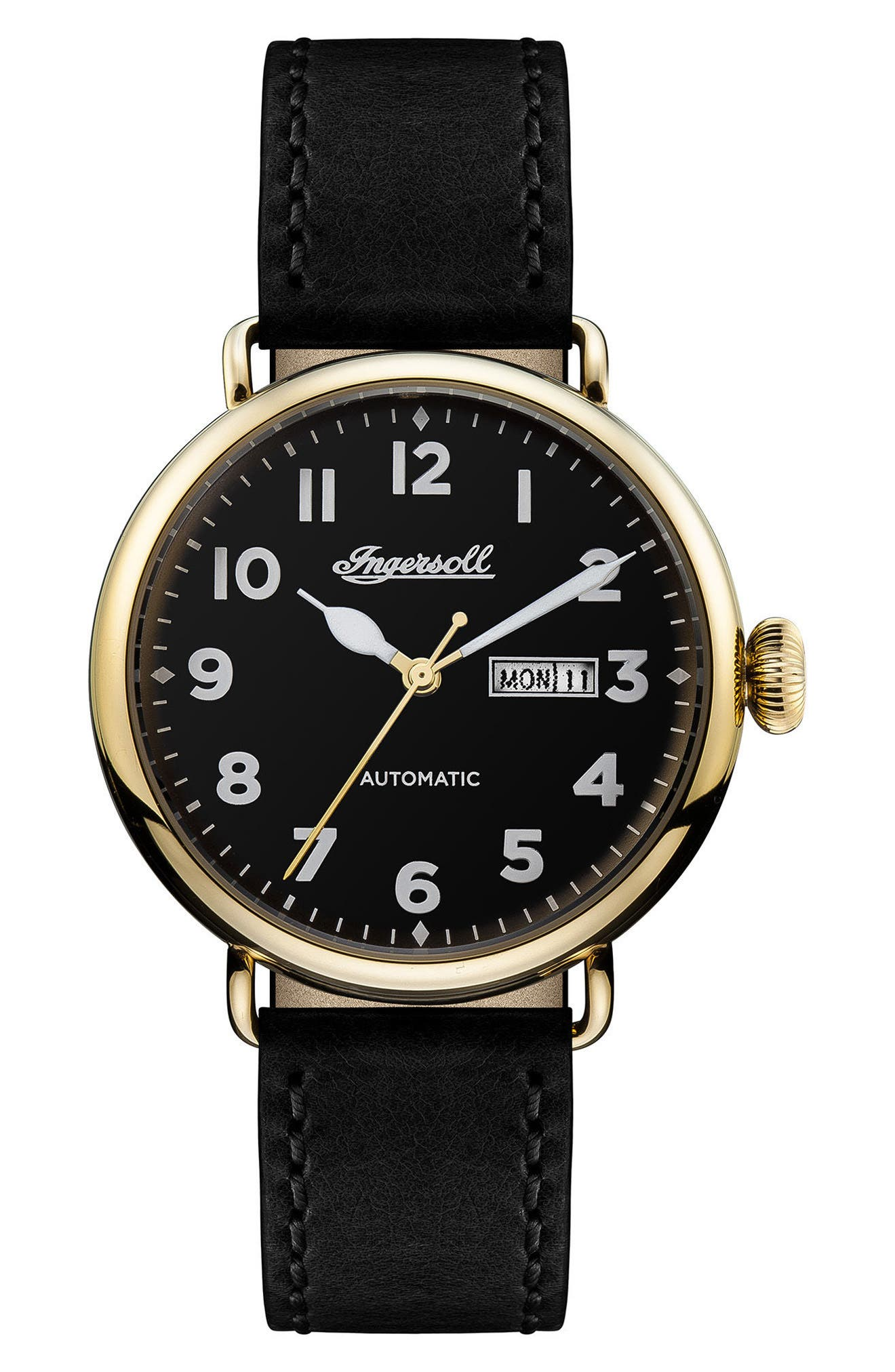 Ingersoll Trenton Automatic Leather Strap Watch, 44mm,                         Main,                         color, Black/ Gold