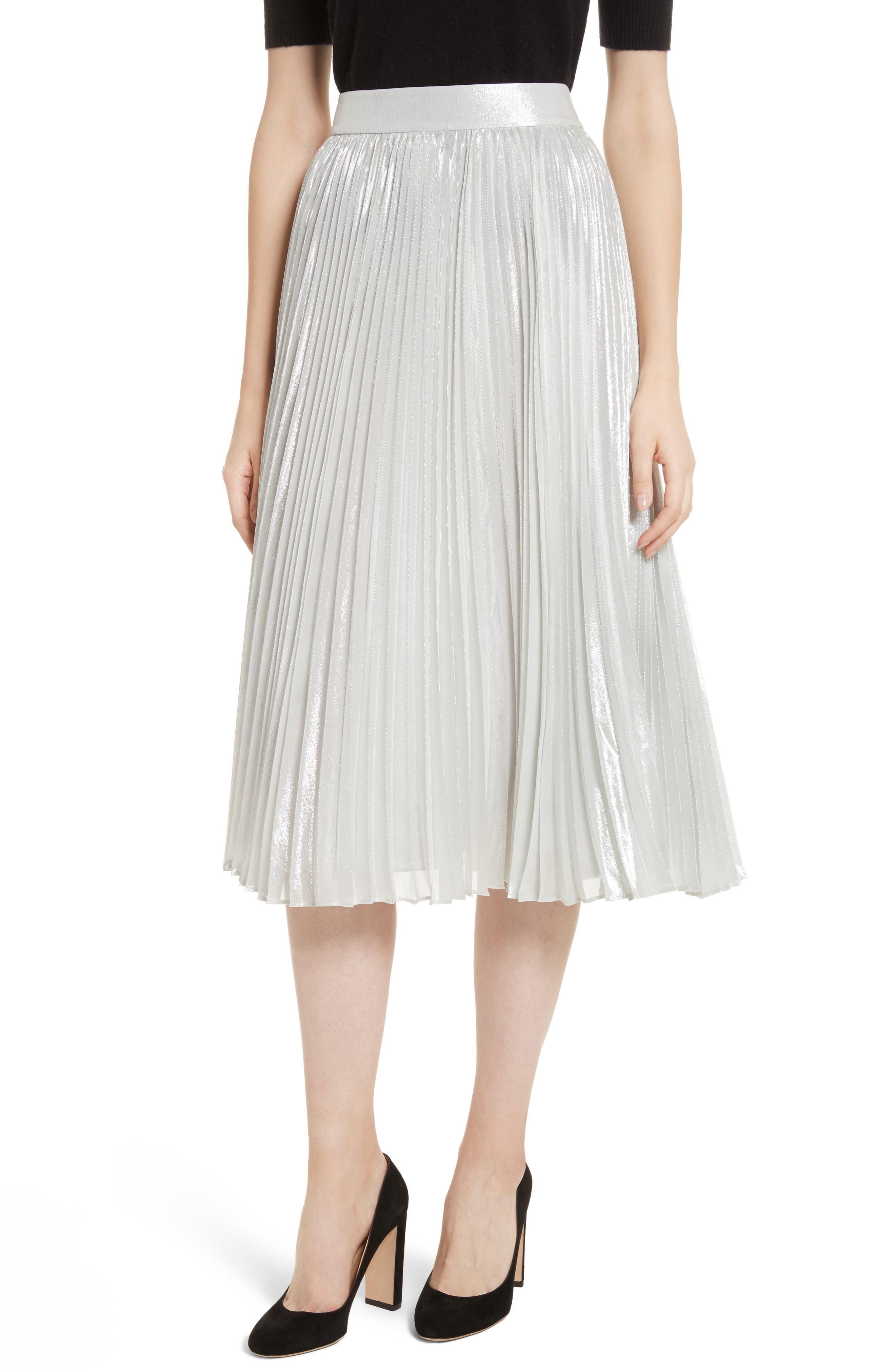 metallic pleat midi skirt,                         Main,                         color, Silver