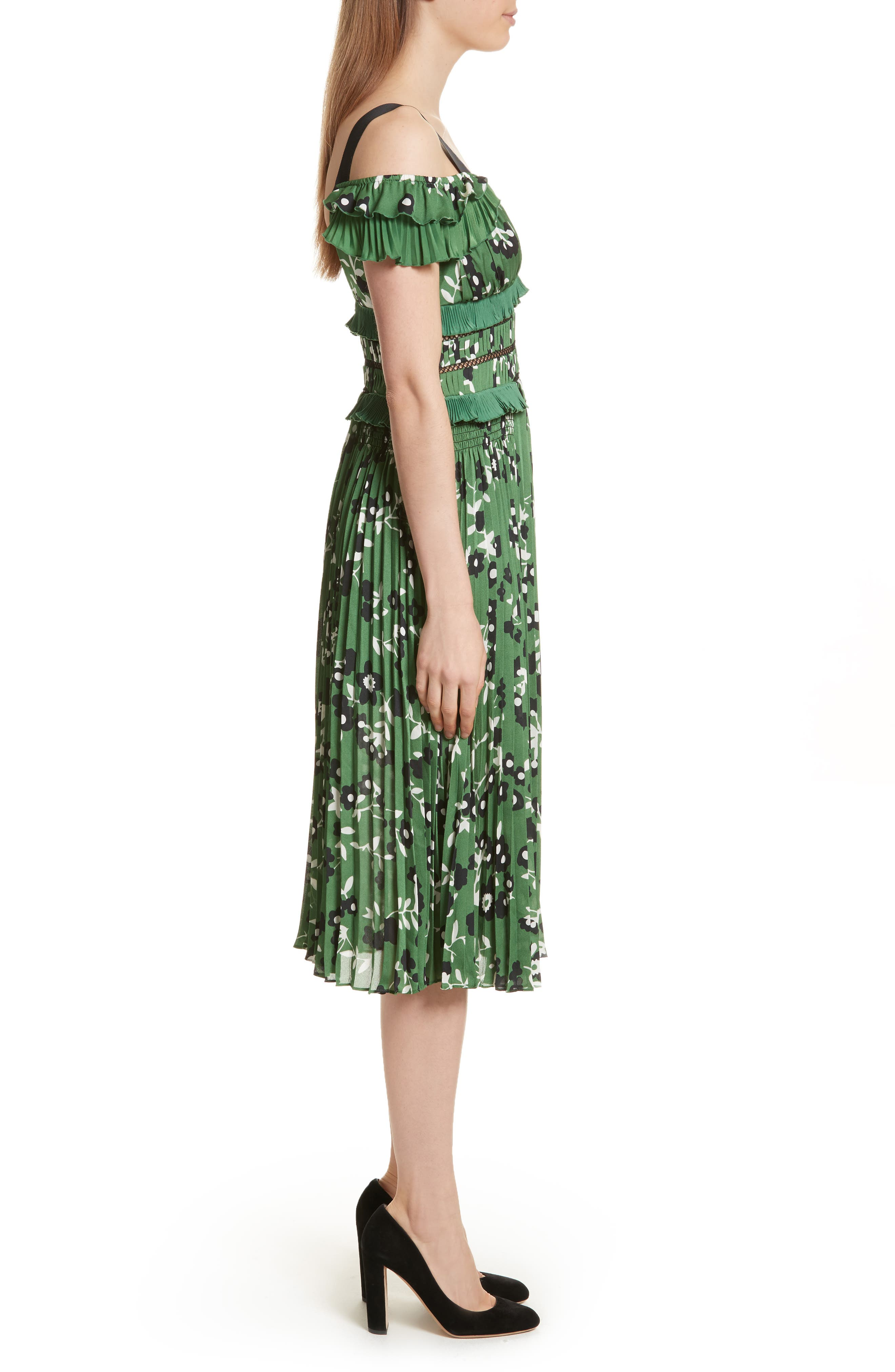 Floral Print Cold Shoulder Dress,                             Alternate thumbnail 4, color,                             Green