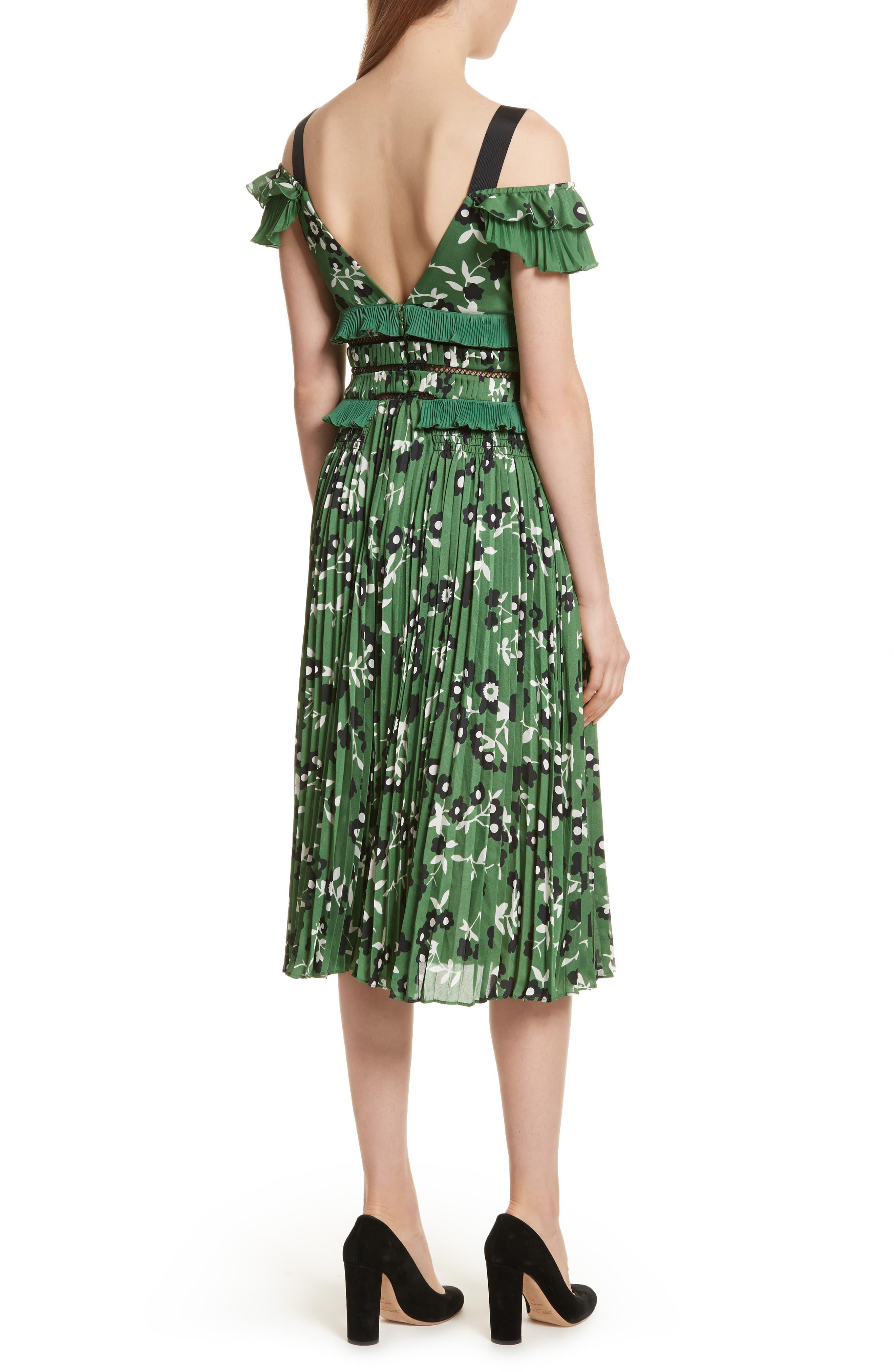 Floral Print Cold Shoulder Dress,                             Alternate thumbnail 2, color,                             Green