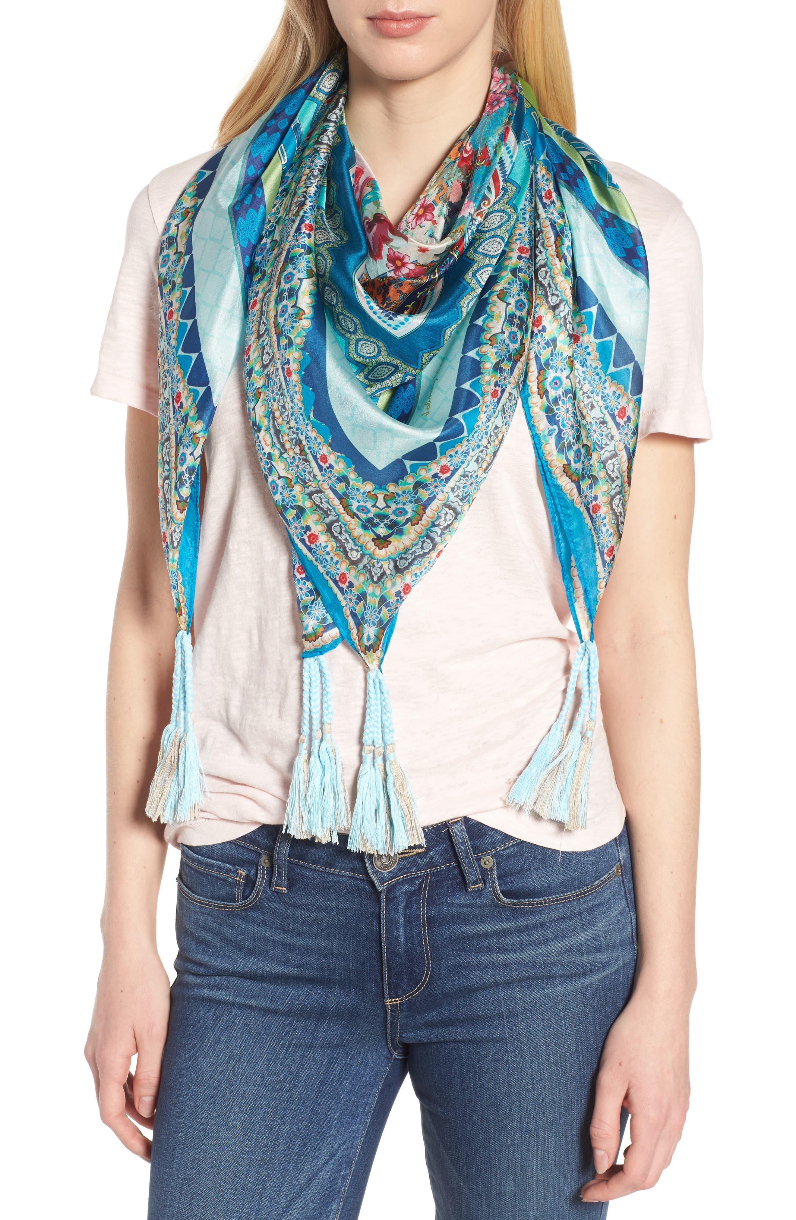 Boutique Tassel Silk Square Scarf,                         Main,                         color, Multi