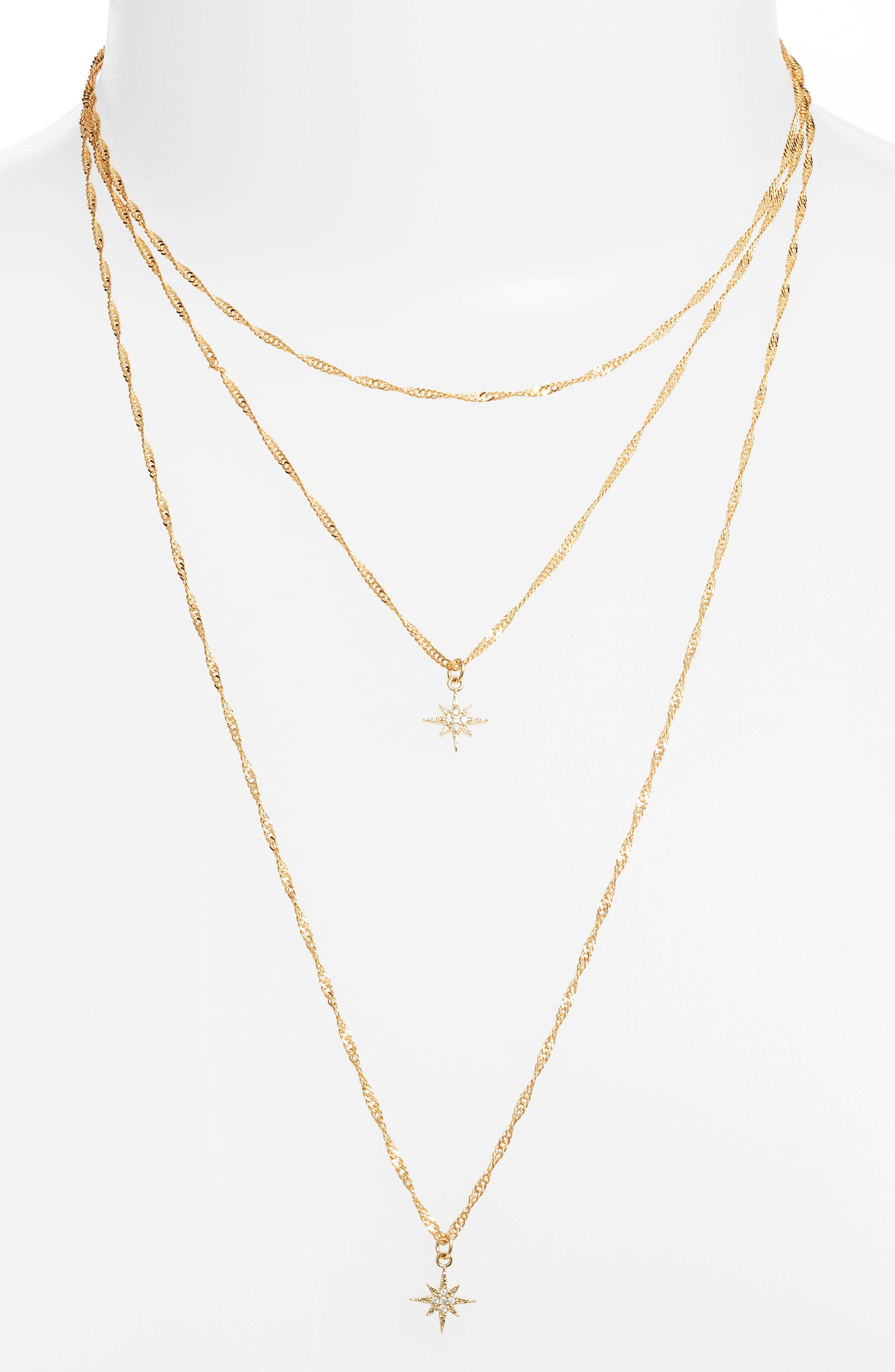 Yolanda Layered Necklace,                         Main,                         color, Gold