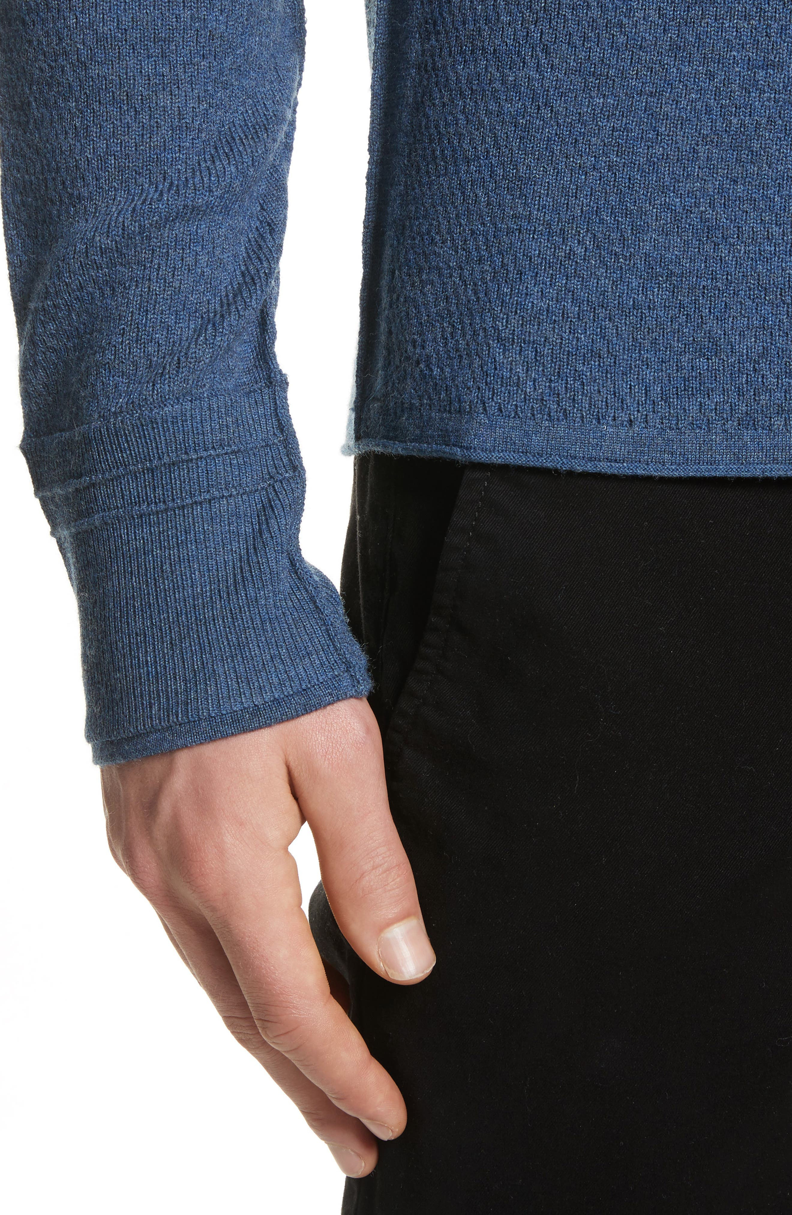 Gregory Merino Wool Blend Crewneck Sweater,                             Alternate thumbnail 4, color,                             Heather Blue