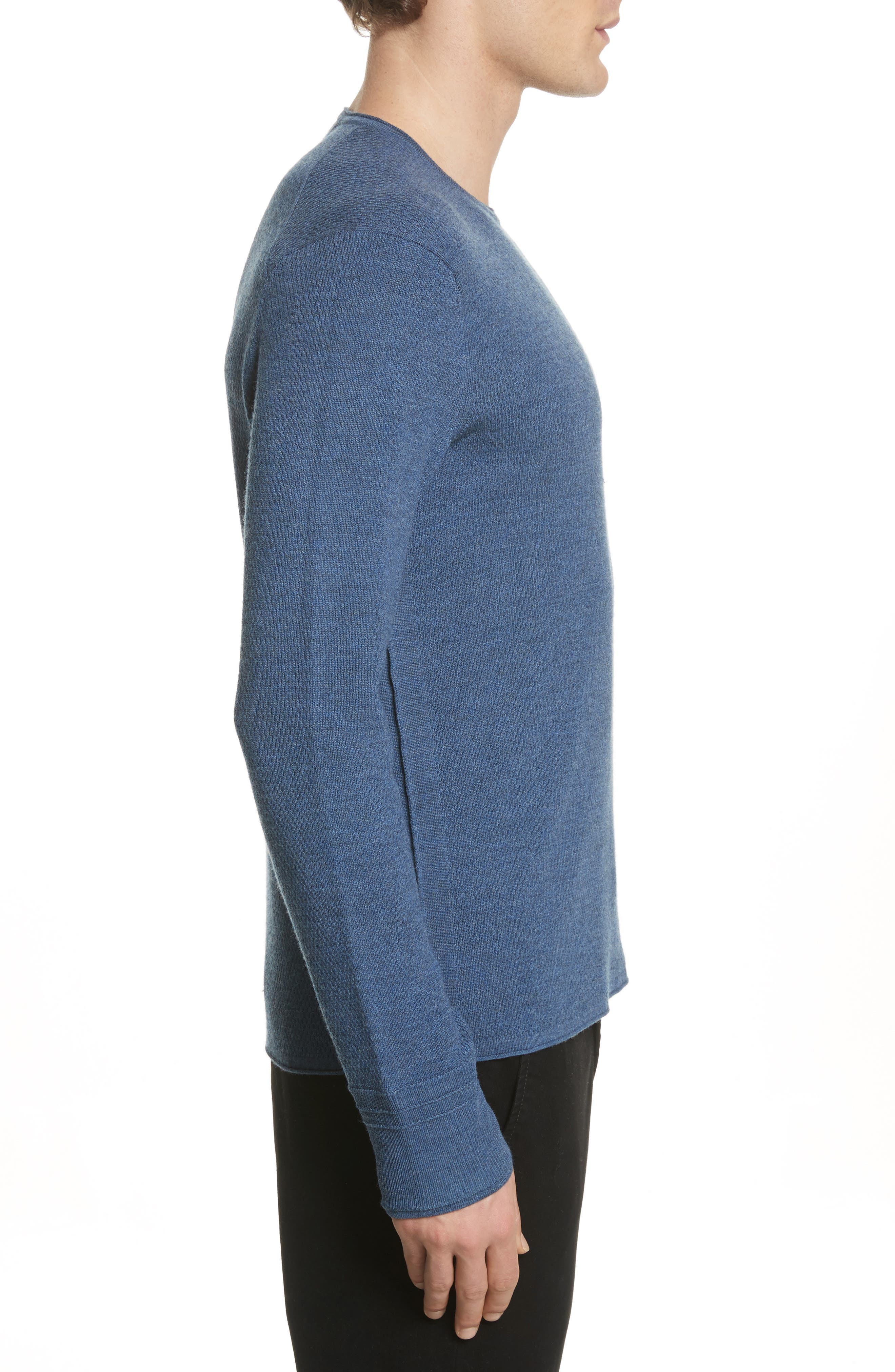 Gregory Merino Wool Blend Crewneck Sweater,                             Alternate thumbnail 3, color,                             Heather Blue