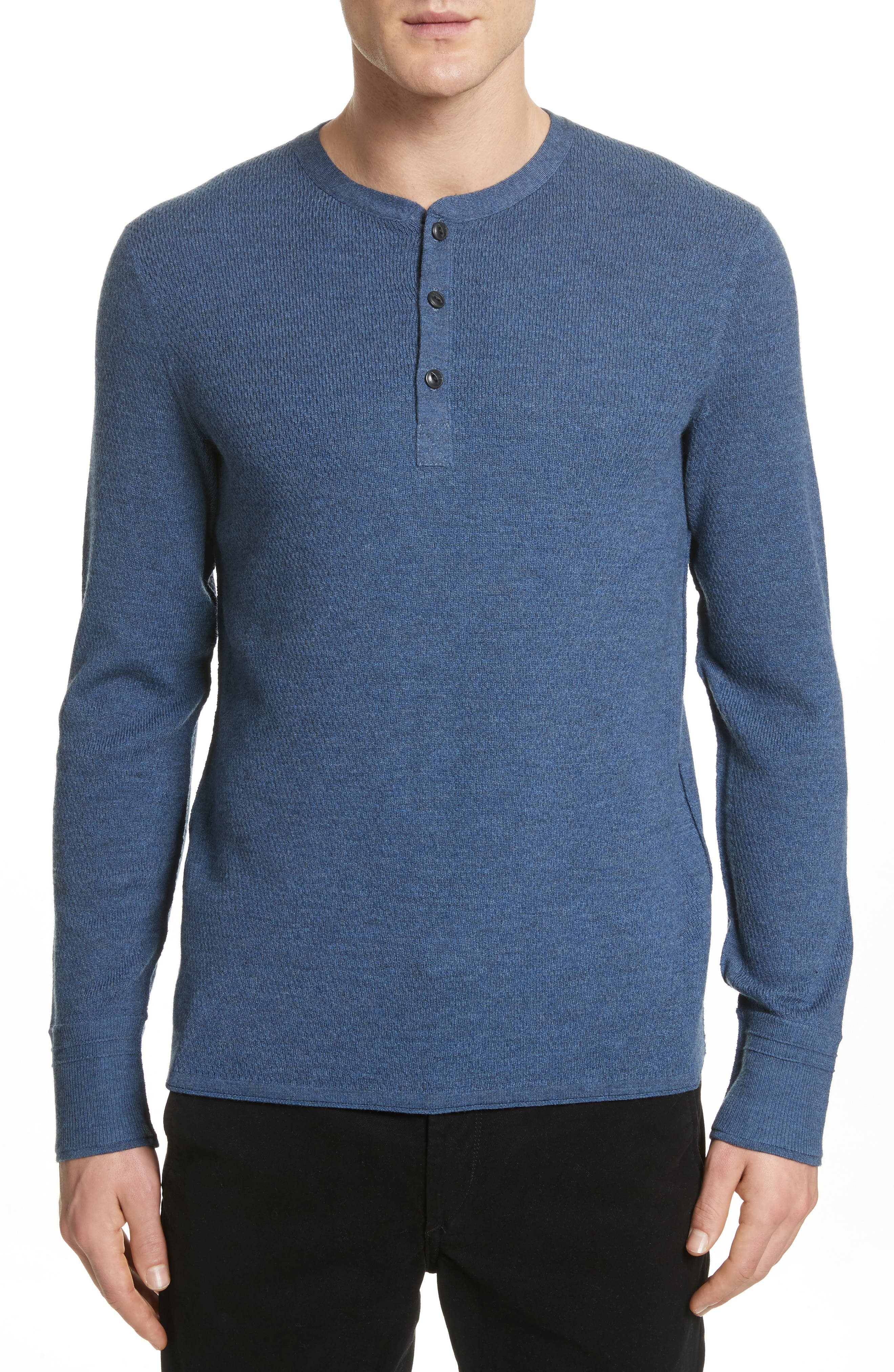 Gregory Merino Wool Blend Thermal Henley,                         Main,                         color, Heather Blue