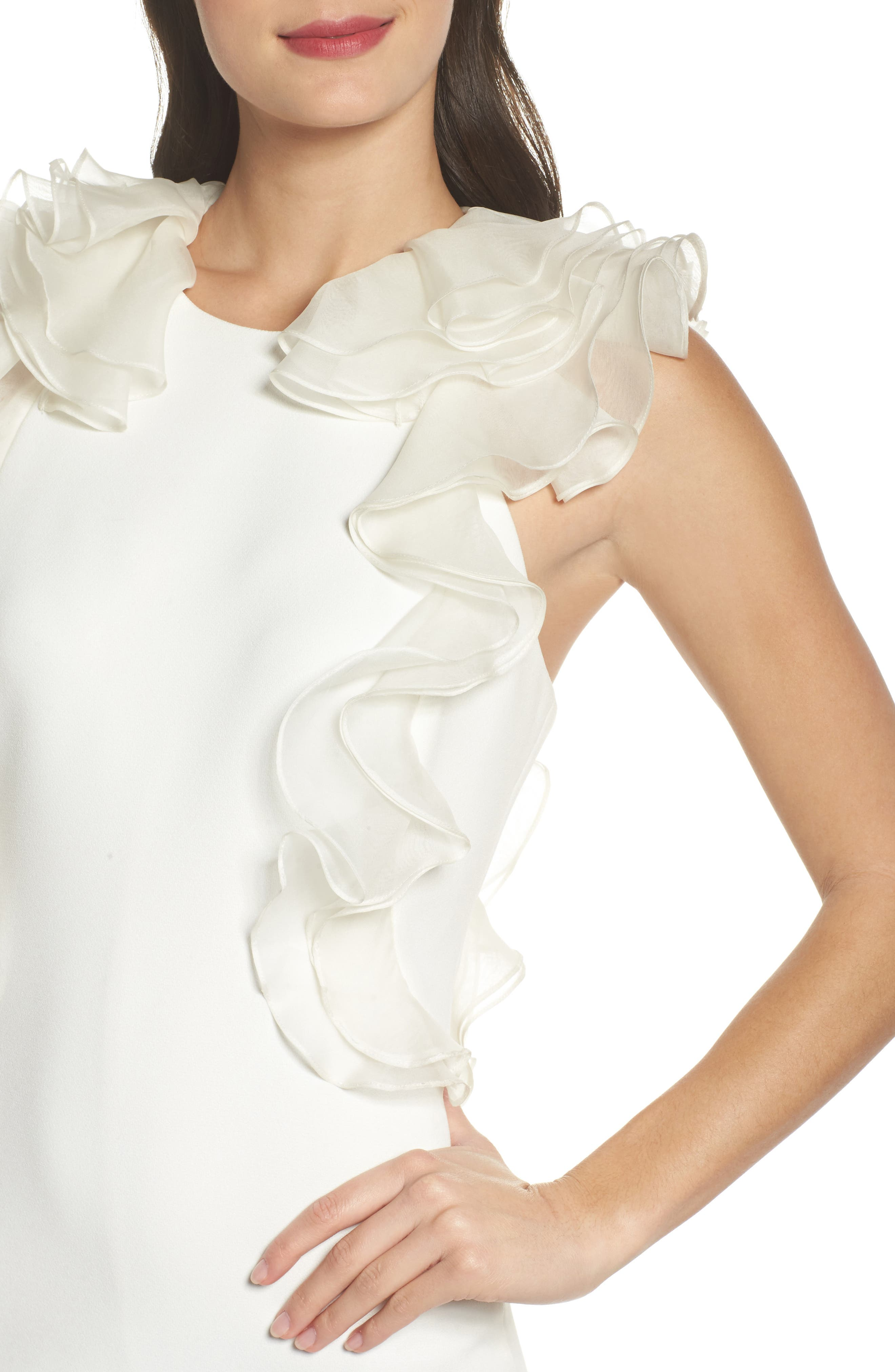 Ruffle Back Sheath Dress,                             Alternate thumbnail 4, color,                             Ivory