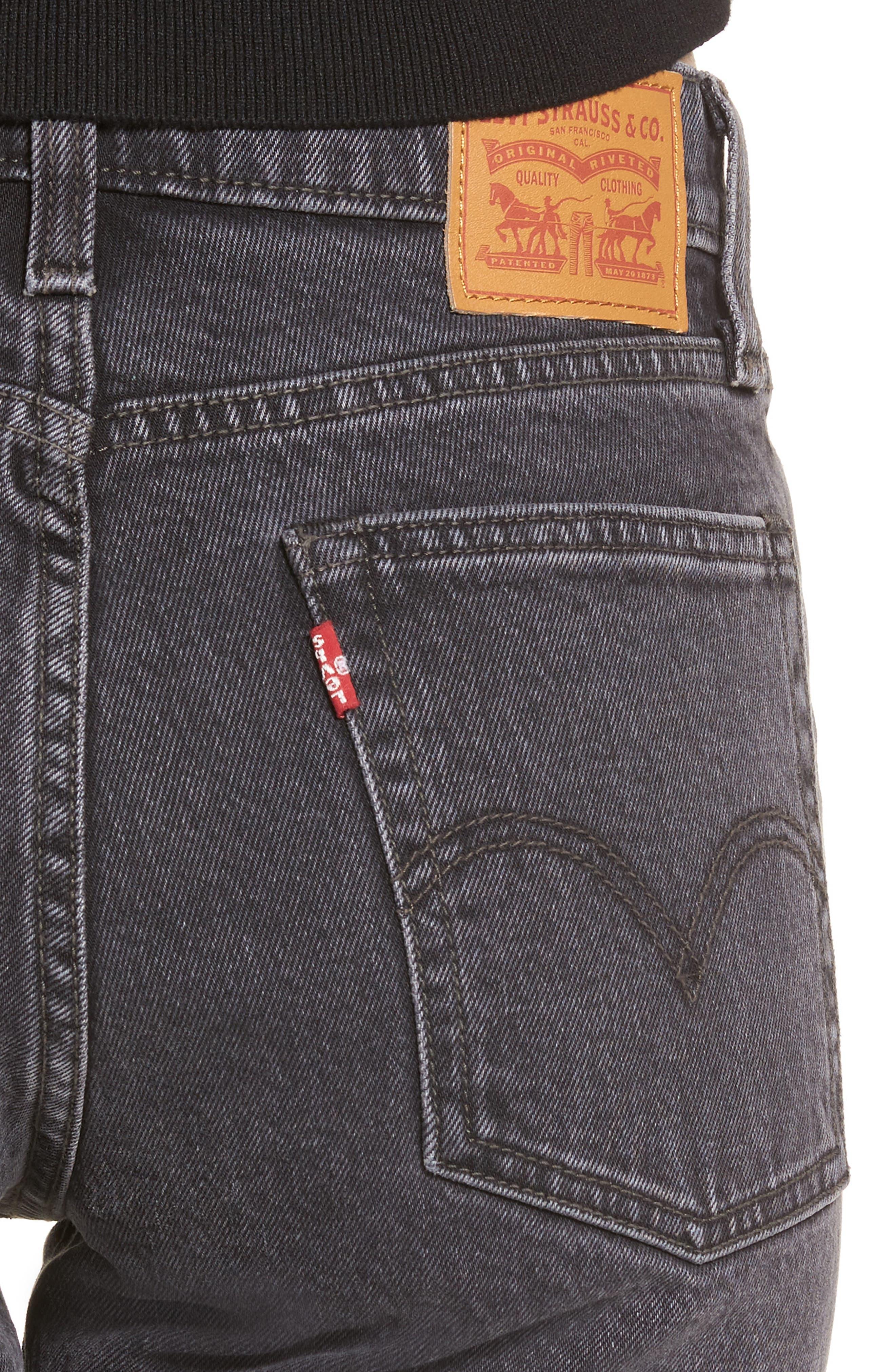 Wedgie High Waist Ankle Straight Leg Jeans,                             Alternate thumbnail 4, color,                             That Girl