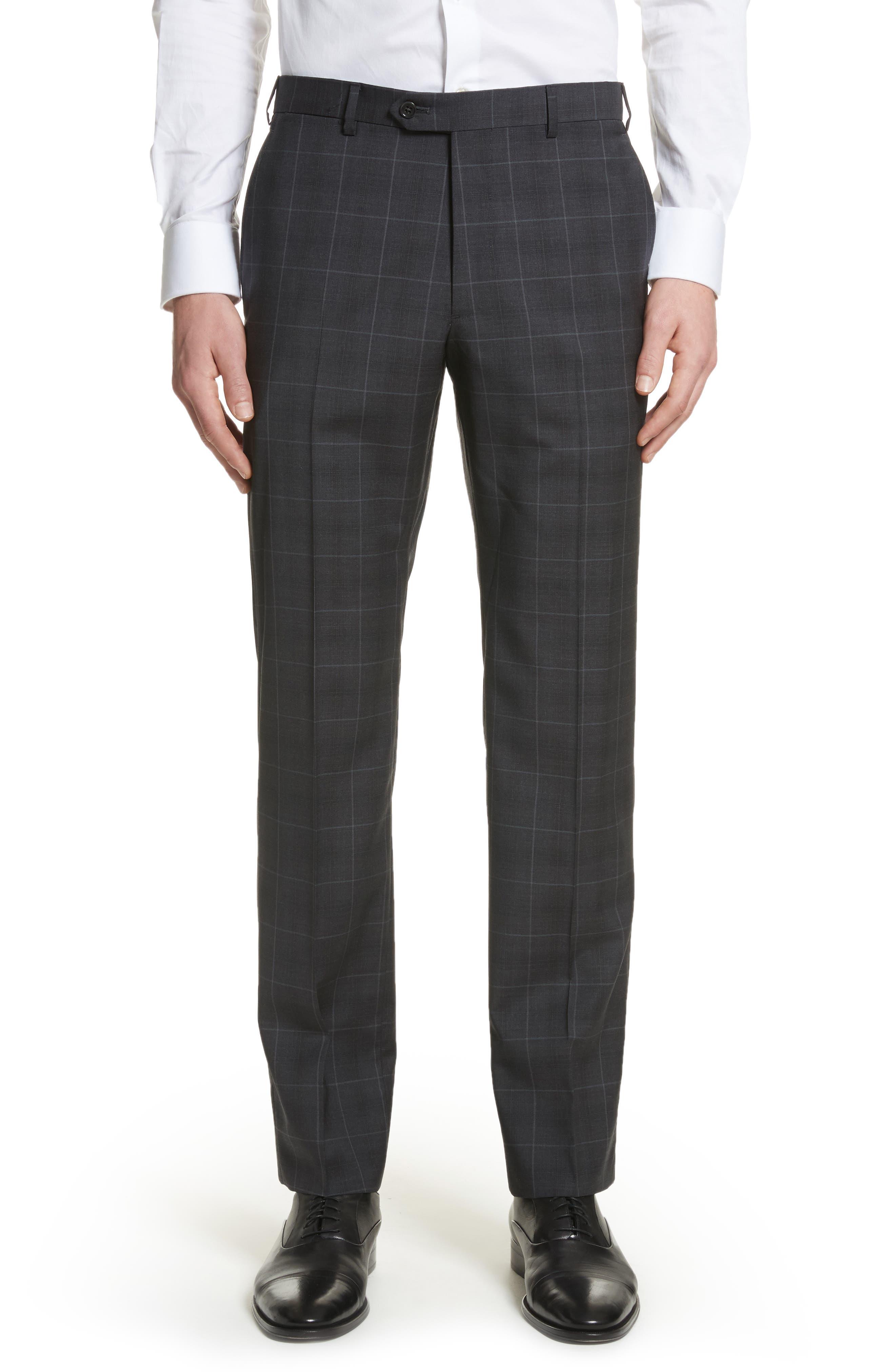 M-Line Trim Fit Plaid Wool Suit,                             Alternate thumbnail 5, color,                             Grey