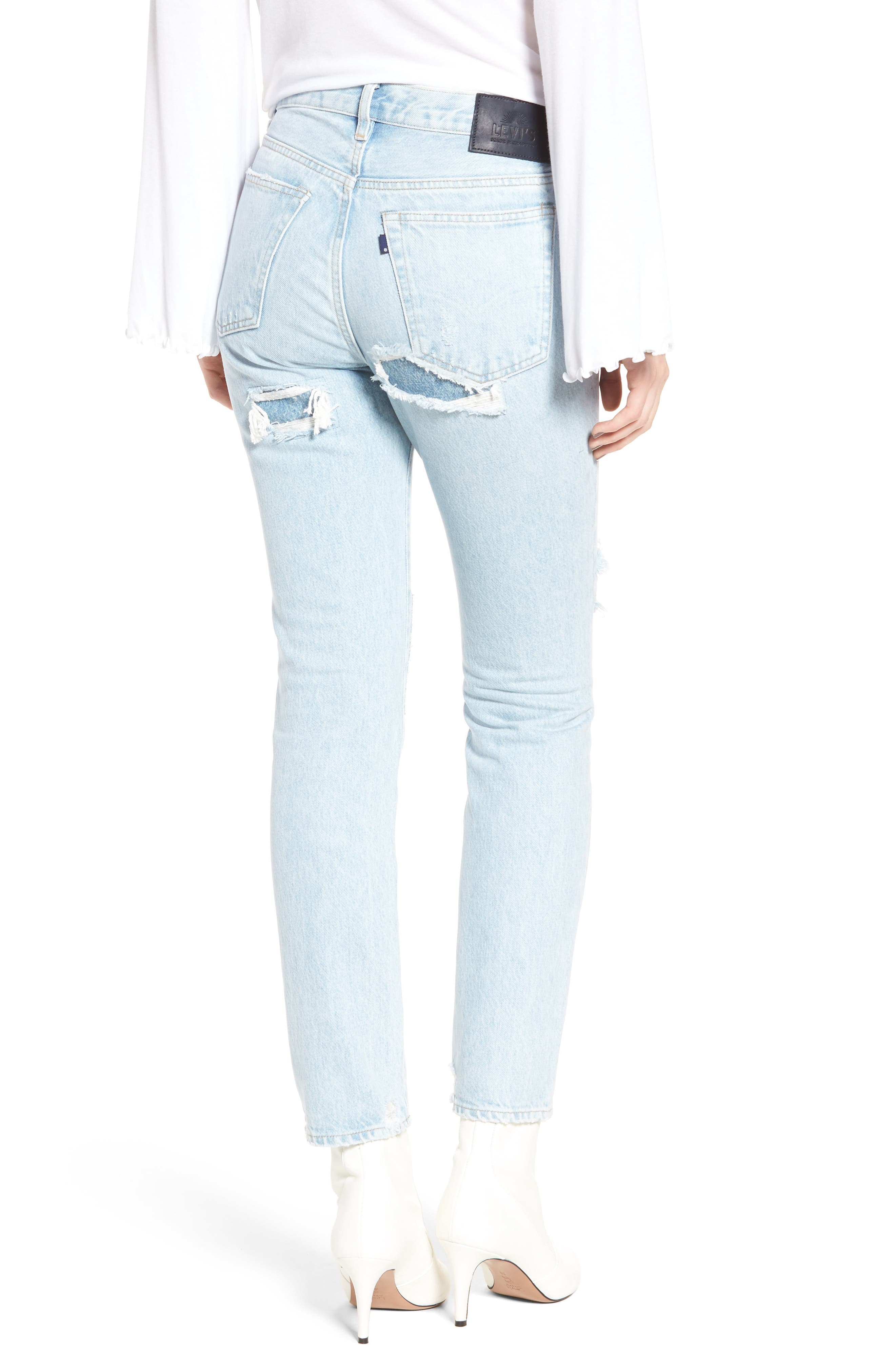 Twig II High Waist Ankle Slim Jeans,                             Alternate thumbnail 3, color,                             Pipeline Blue