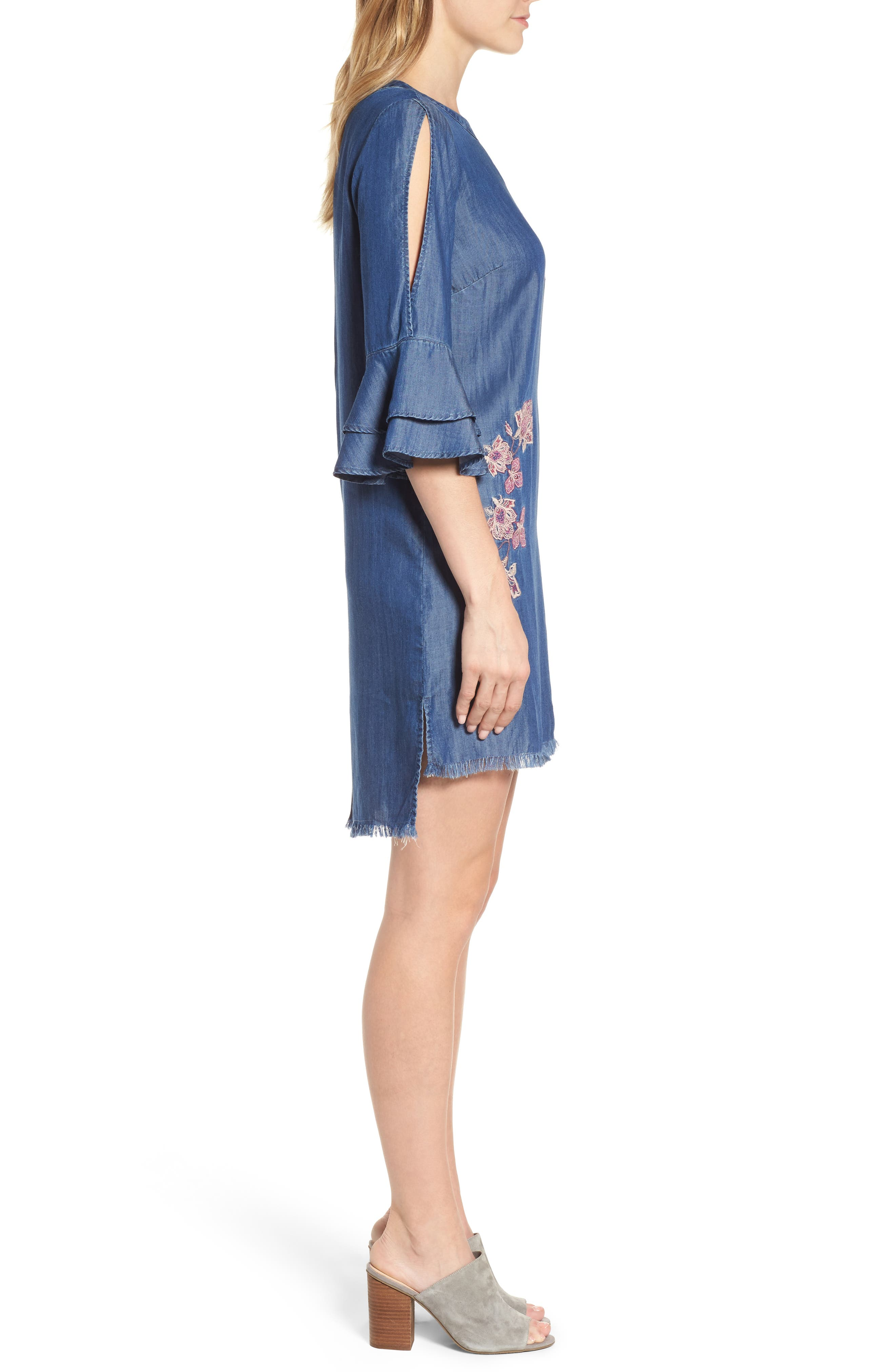 Embroidered Chambray Keyhole Dress,                             Alternate thumbnail 3, color,                             Blue