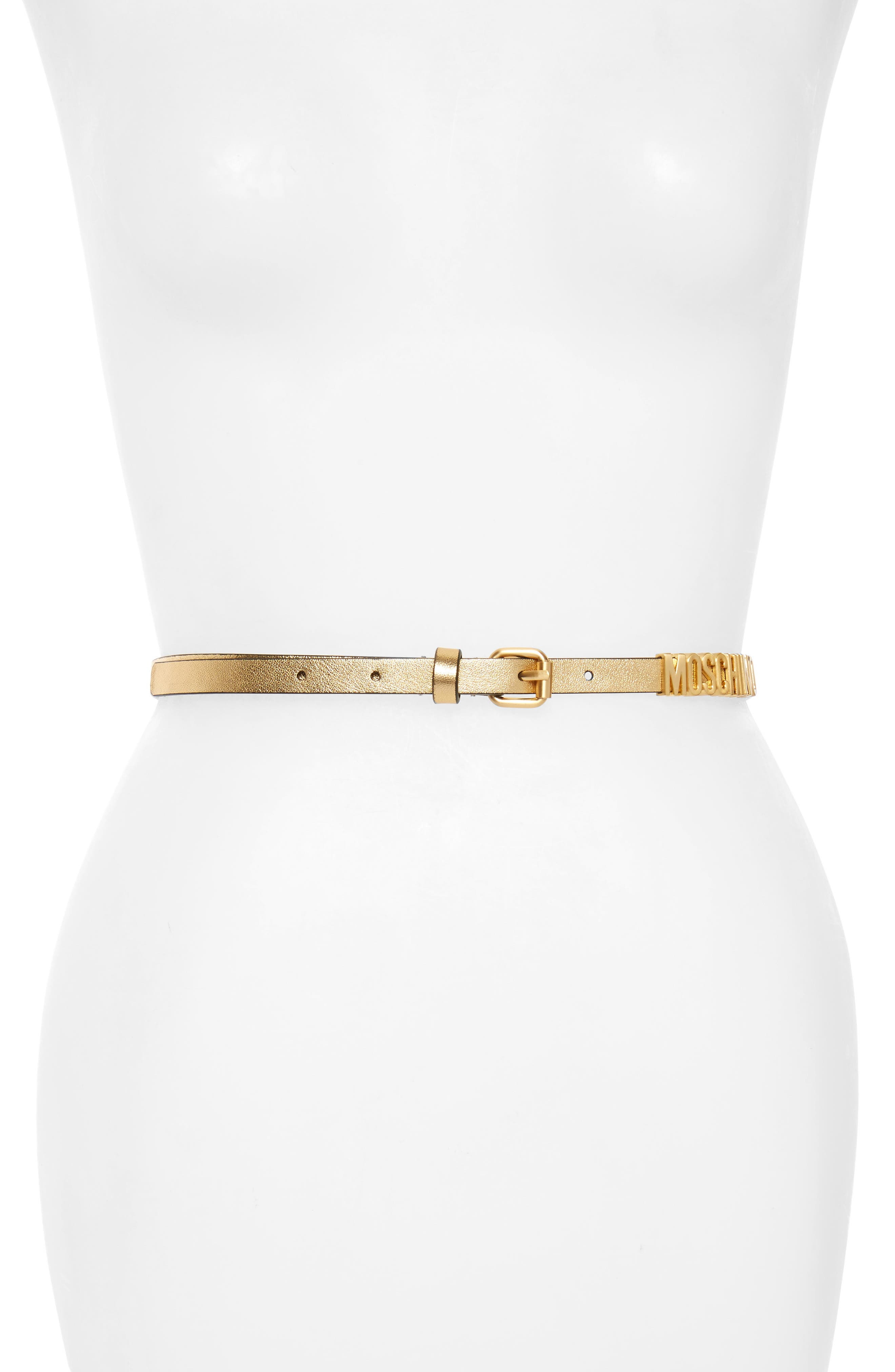 Logo Skinny Metallic Leather Belt,                             Main thumbnail 1, color,                             Gold/ Gold