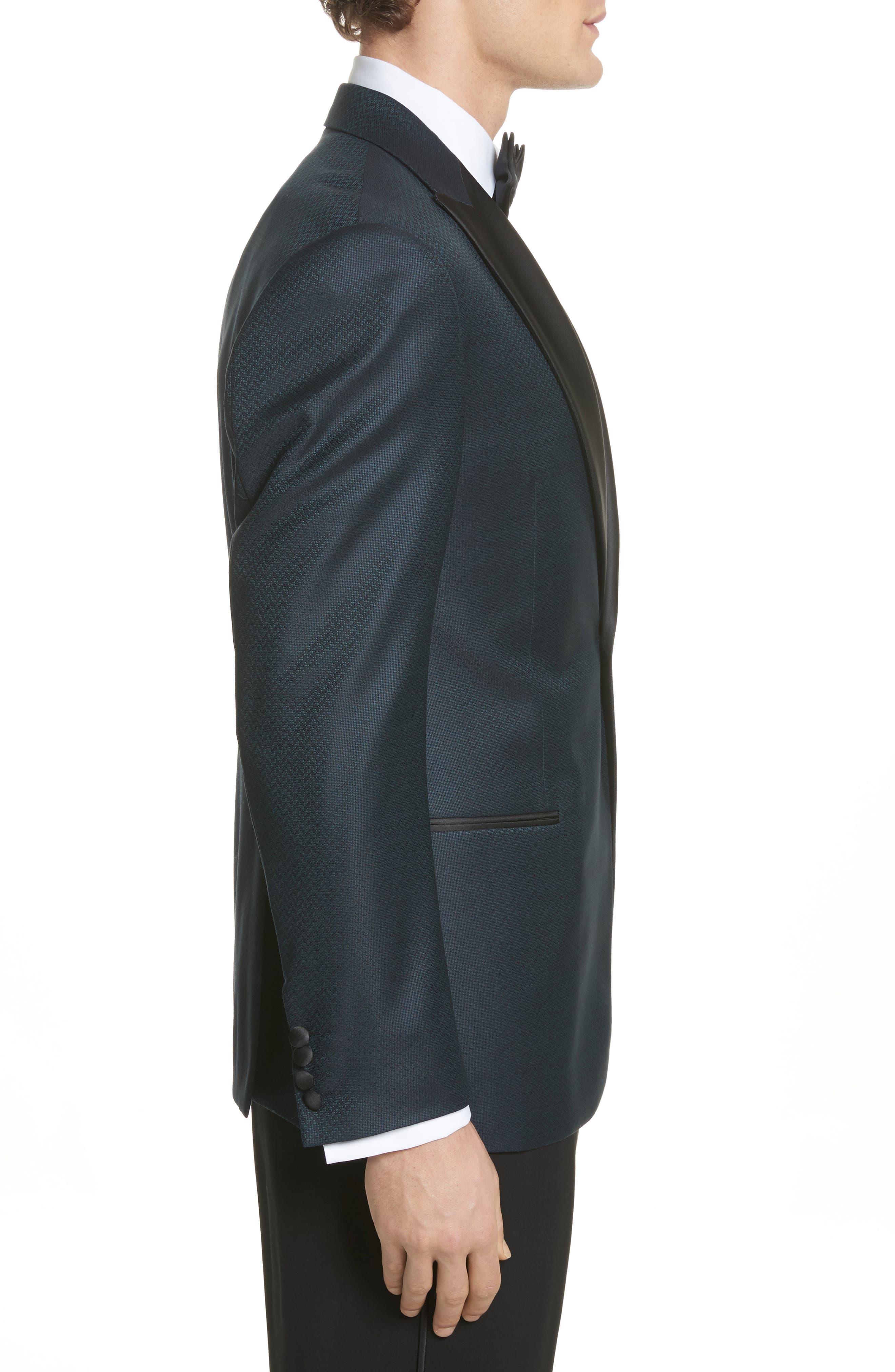 G-Line Trim Fit Wool Dinner Jacket,                             Alternate thumbnail 3, color,                             Blue