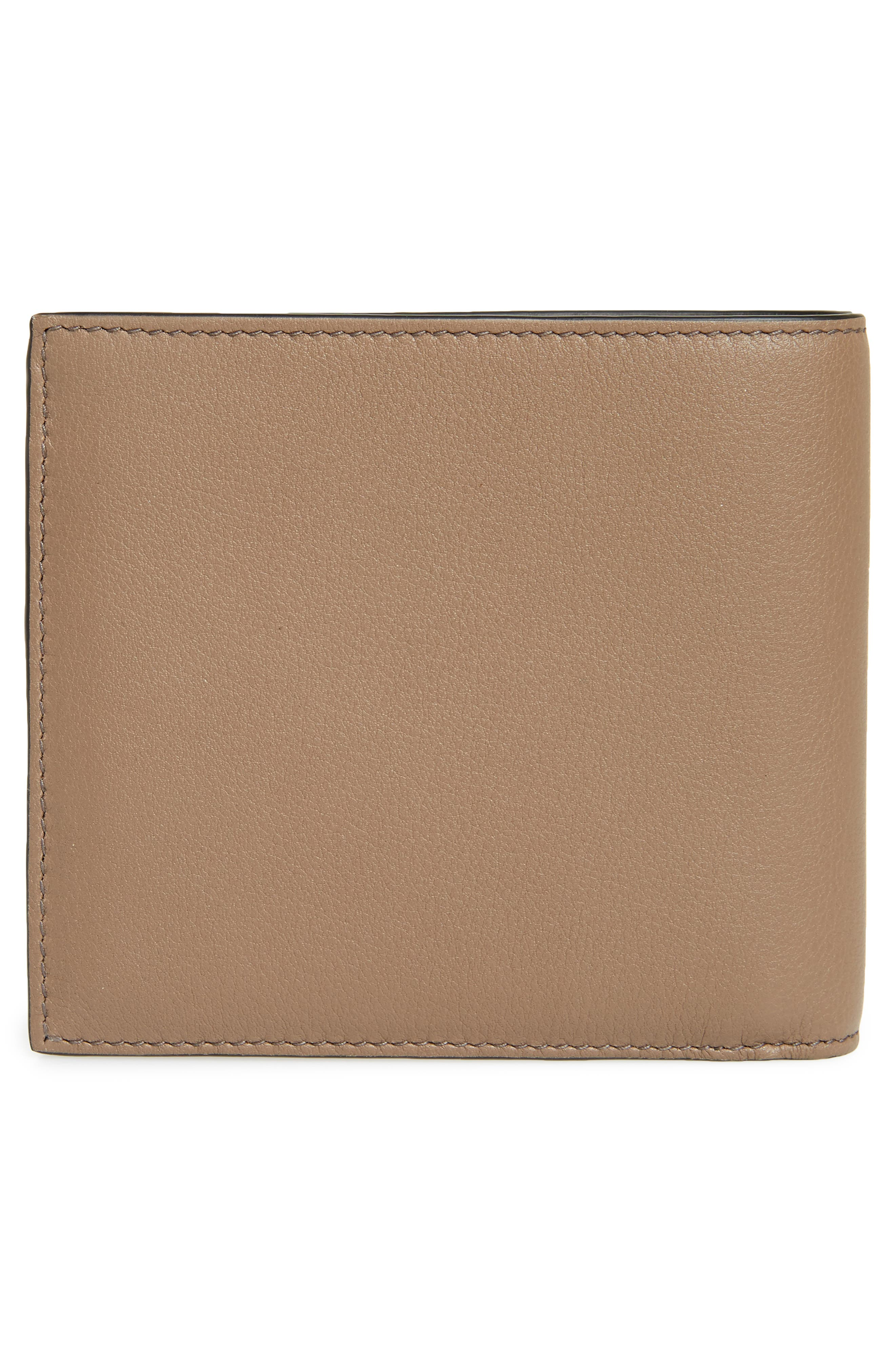 Skull Leather Bifold Wallet,                             Alternate thumbnail 3, color,                             Dark Taupe/ Tan/ White