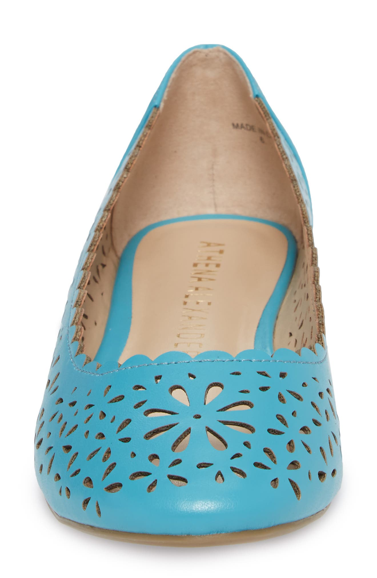 Annora Perforated Flat,                             Alternate thumbnail 4, color,                             Teal Fabric