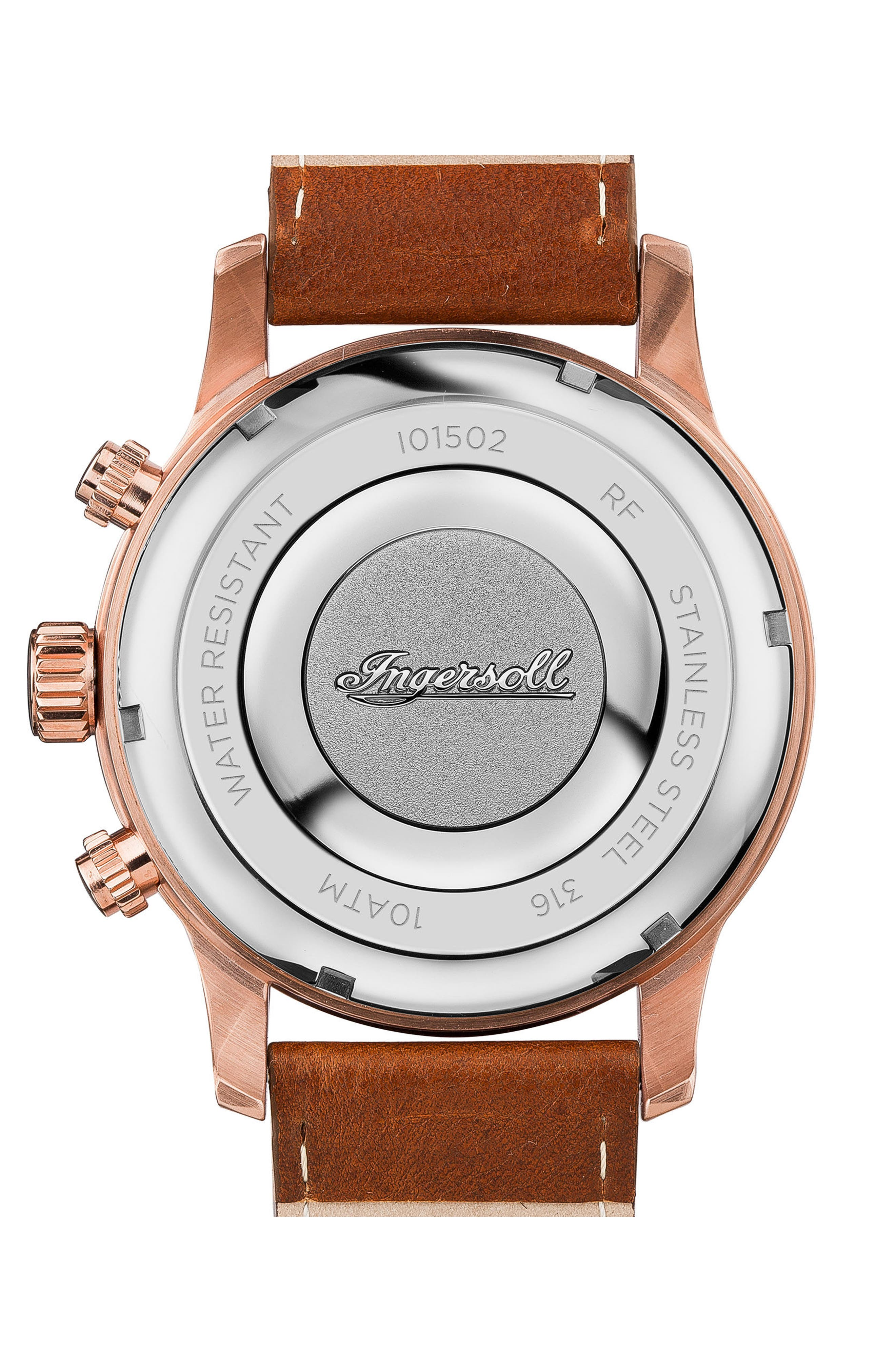 Ingersoll Hatton Chronograph Leather Strap Watch, 46mm,                             Alternate thumbnail 2, color,                             Brown/ Blue/ Rose Gold