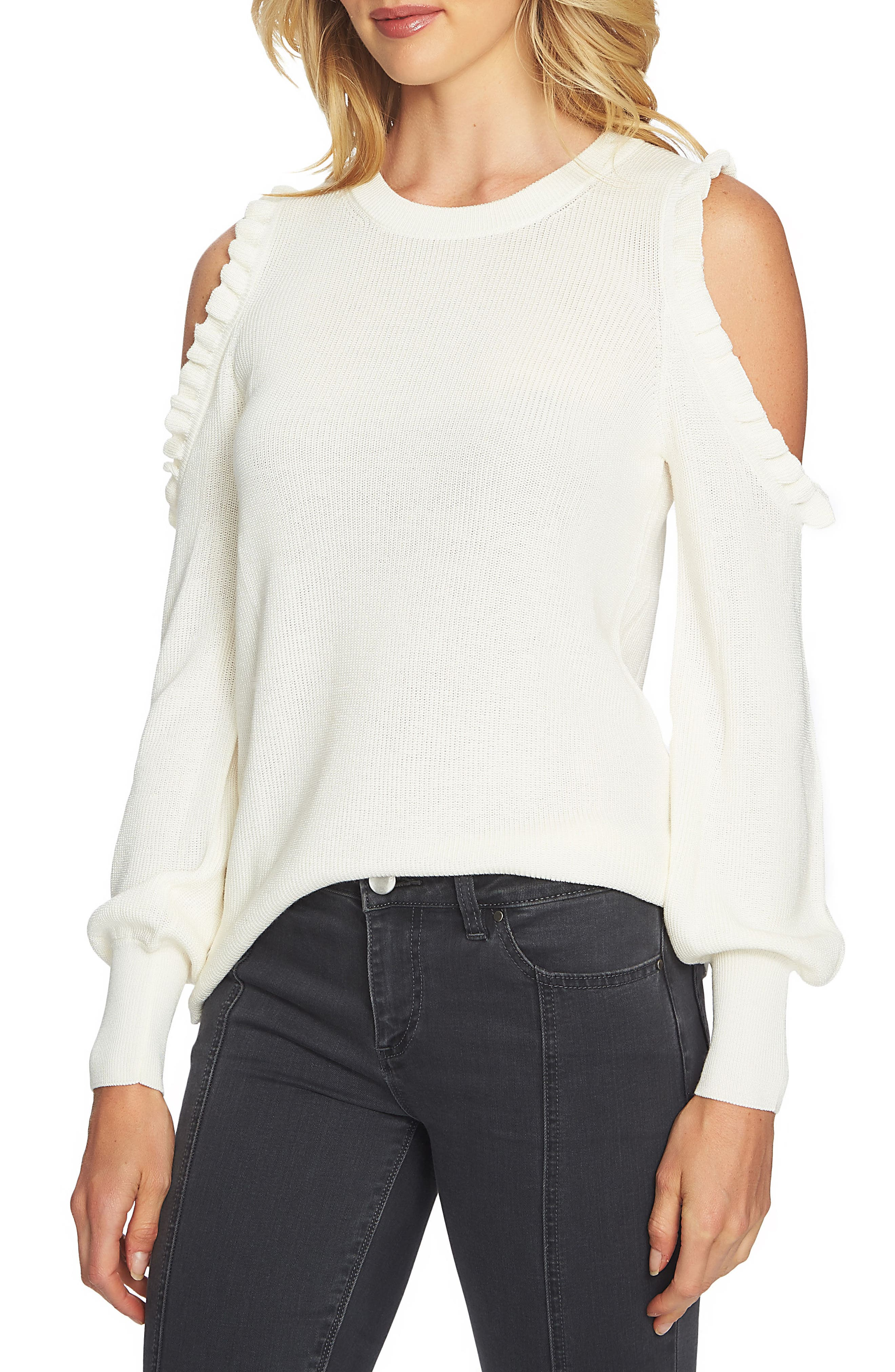 1.STATE Cold Shoulder Sweater