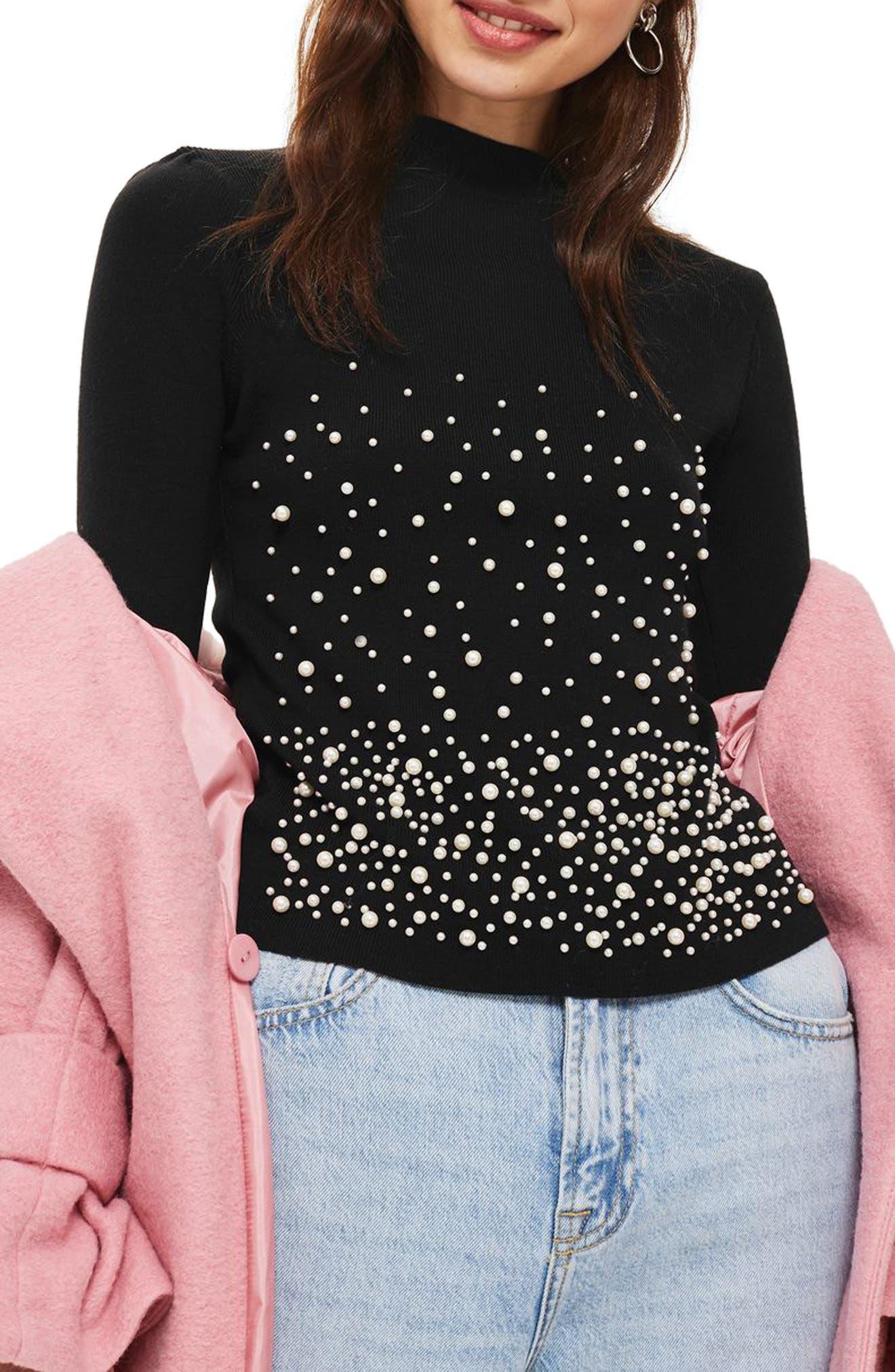 Graduated Imitation Pearl Sweater,                         Main,                         color, Black Multi