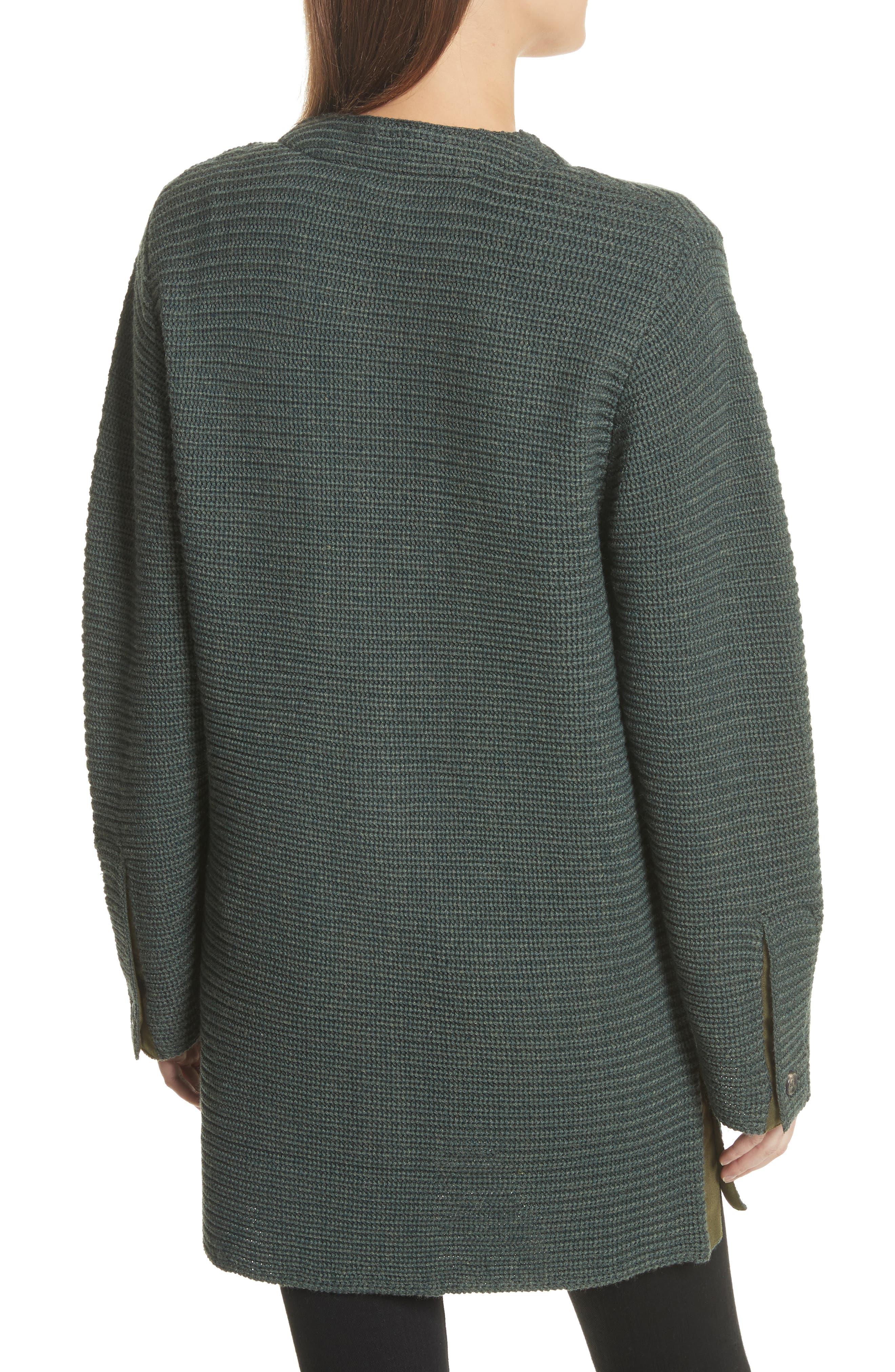 Fleta Merino Wool Blend Cardigan,                             Alternate thumbnail 3, color,                             Olive