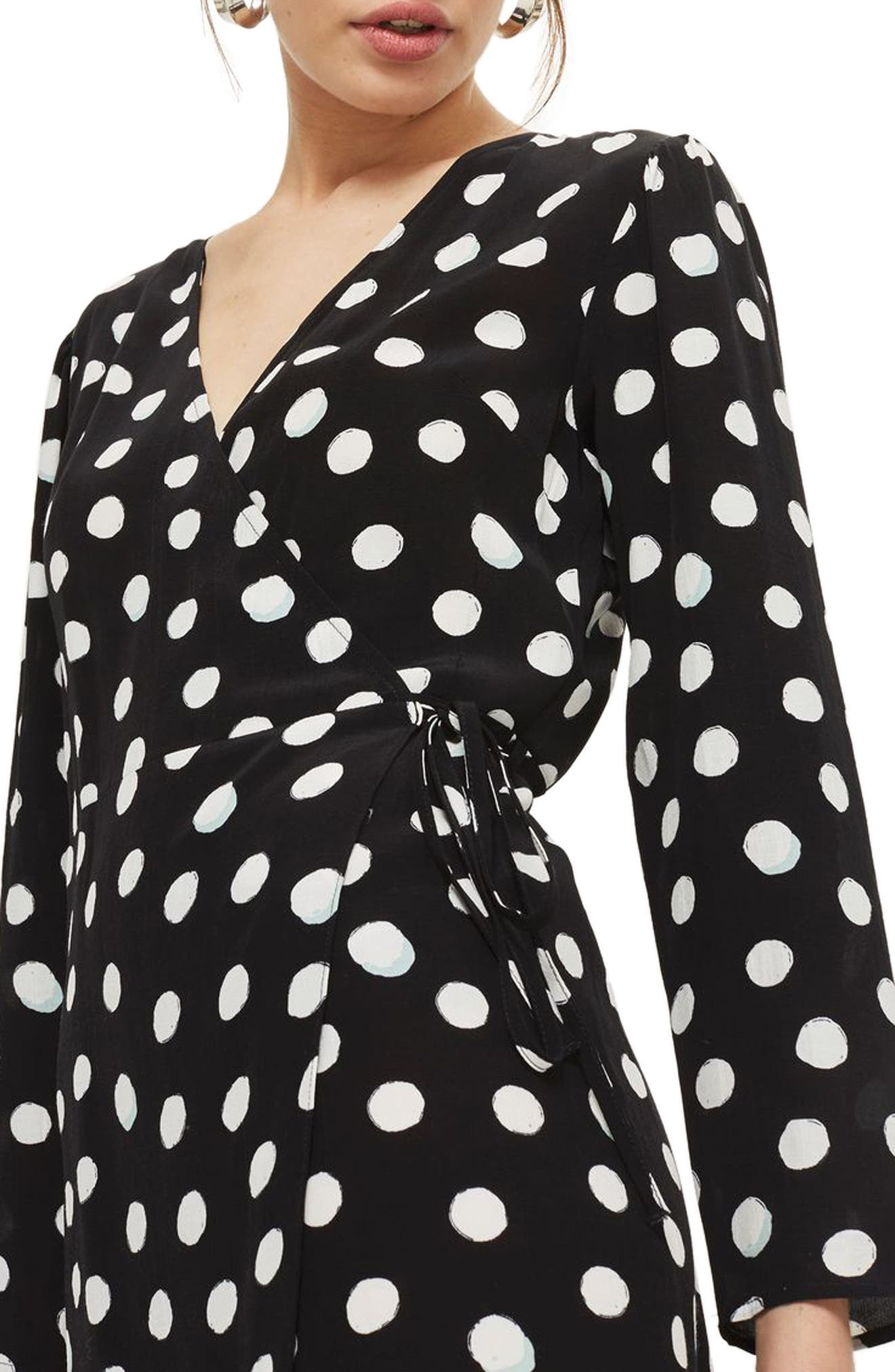 Polka Dot Wrap Dress,                         Main,                         color, Black Multi