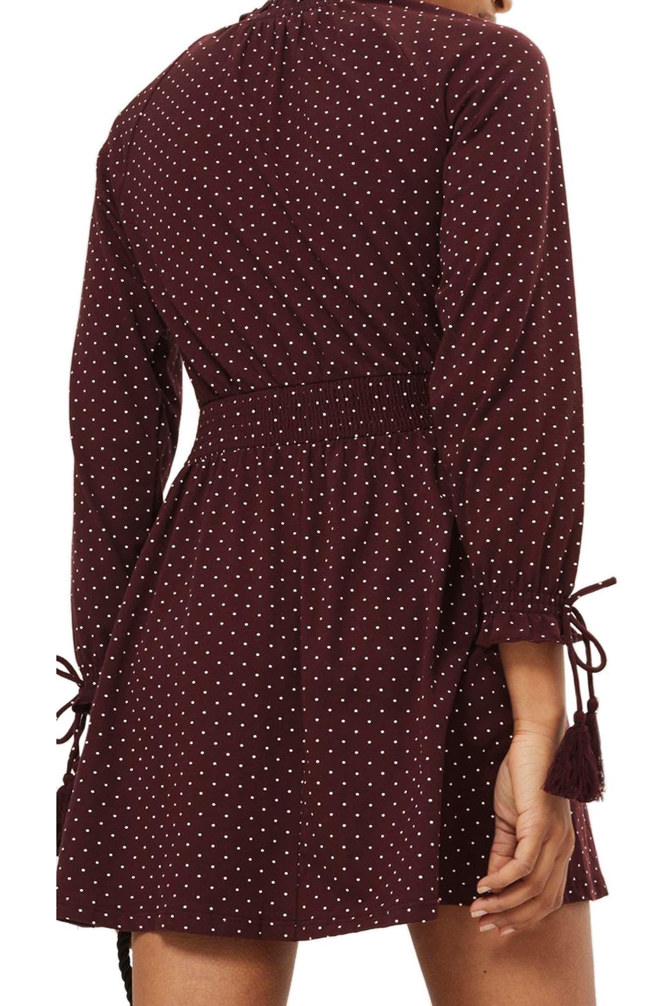 Alternate Image 3  - Topshop Polka Dot Shirred Waist Dress