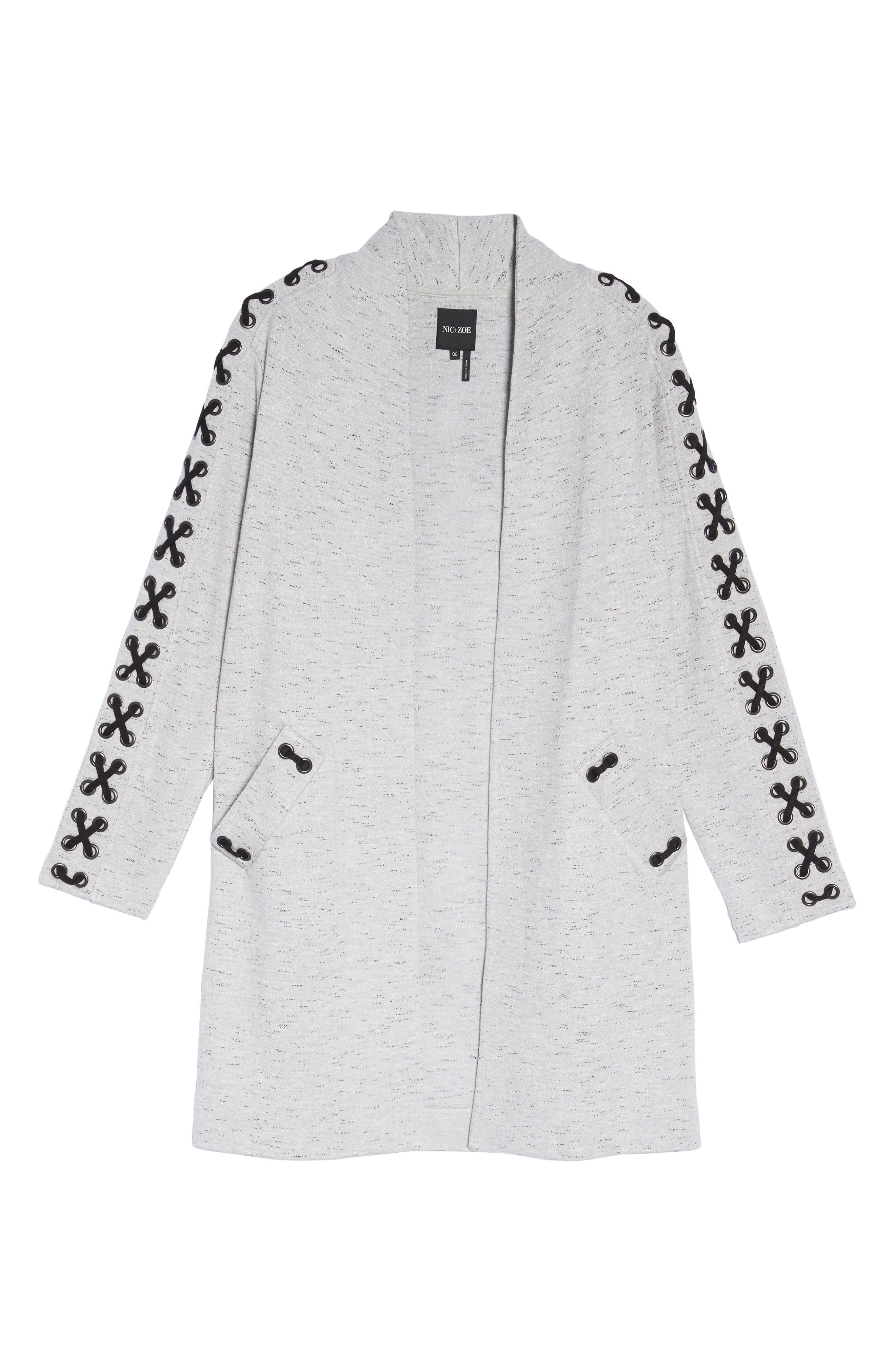 Crisscross Detail Knit Jacket,                             Alternate thumbnail 6, color,                             Granite