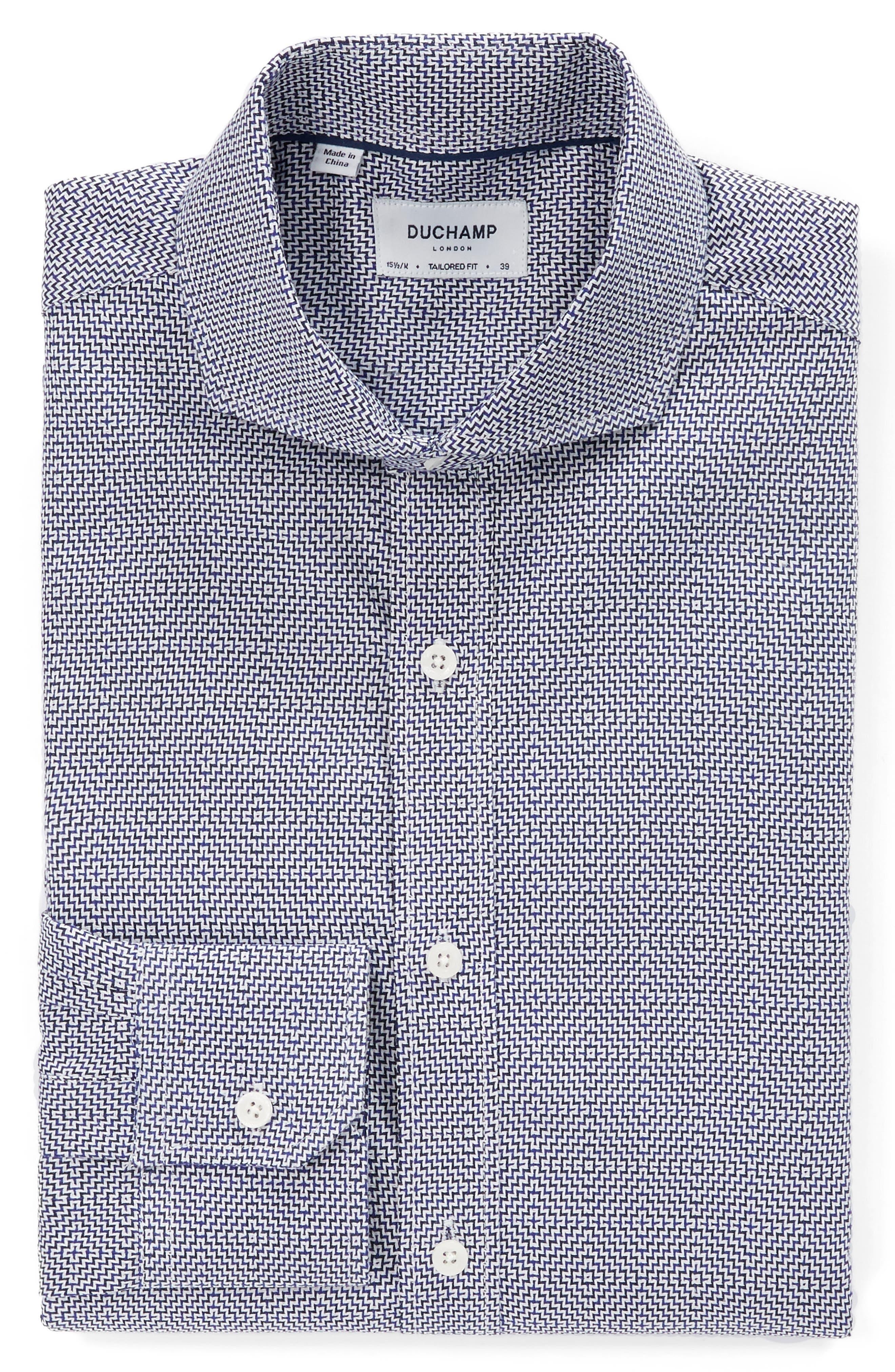 Trim Fit Geometric Dress Shirt,                             Alternate thumbnail 4, color,                             Navy