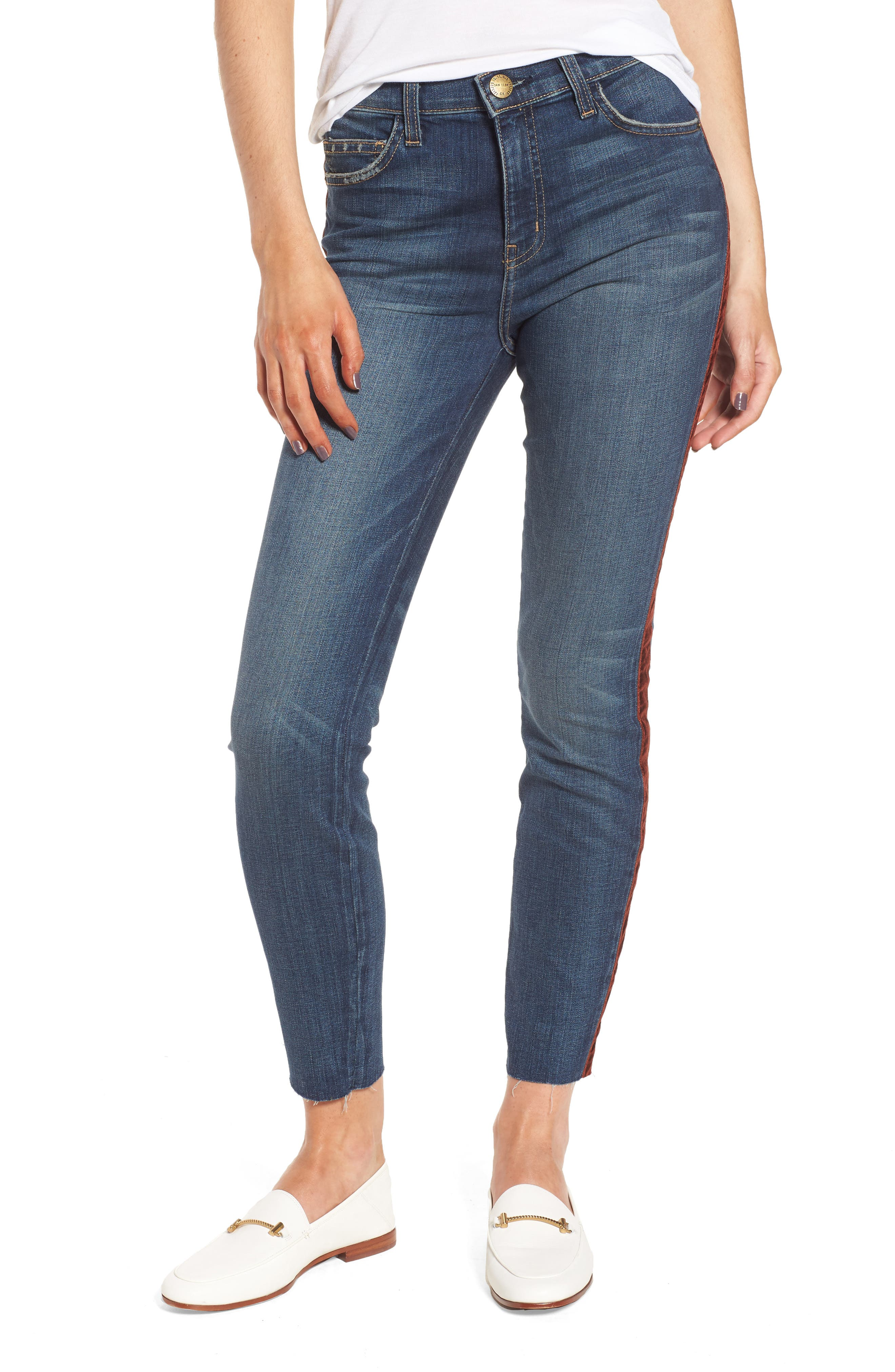 The High Waist Stiletto Ankle Skinny Jeans,                         Main,                         color, Townie W/ Cut Hem