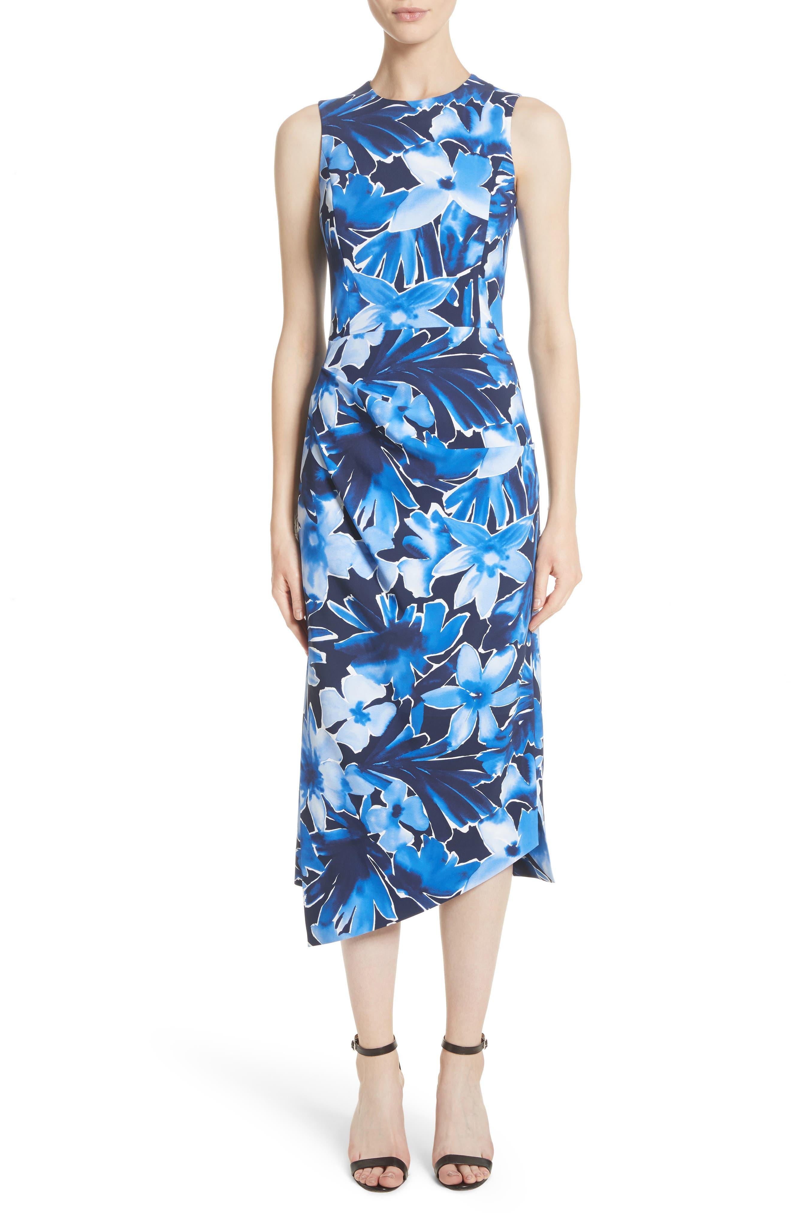 Michael Kors Draped Floral Print Sheath Dress
