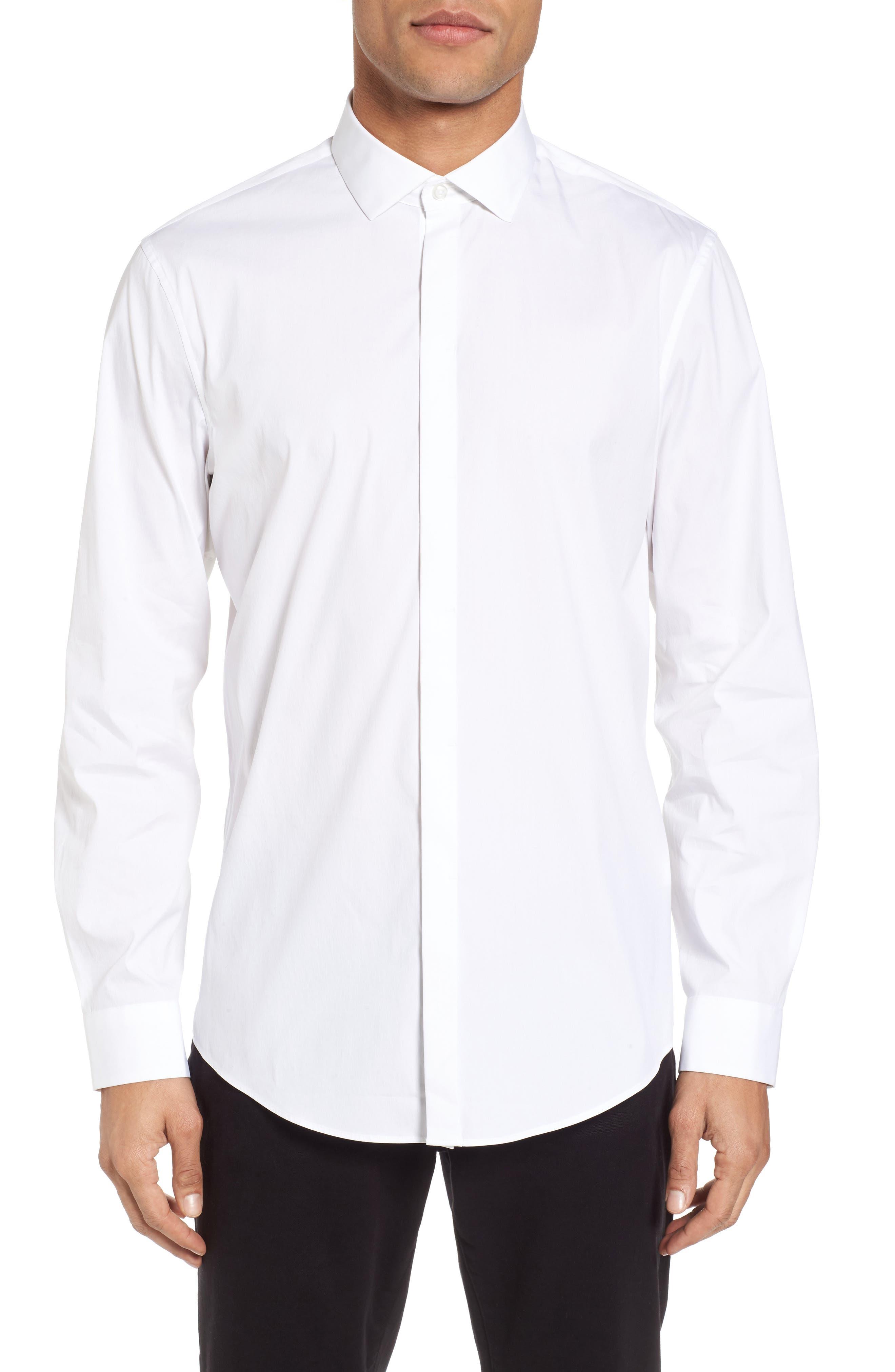 Trim Fit Stretch Sport Shirt,                             Main thumbnail 1, color,                             White