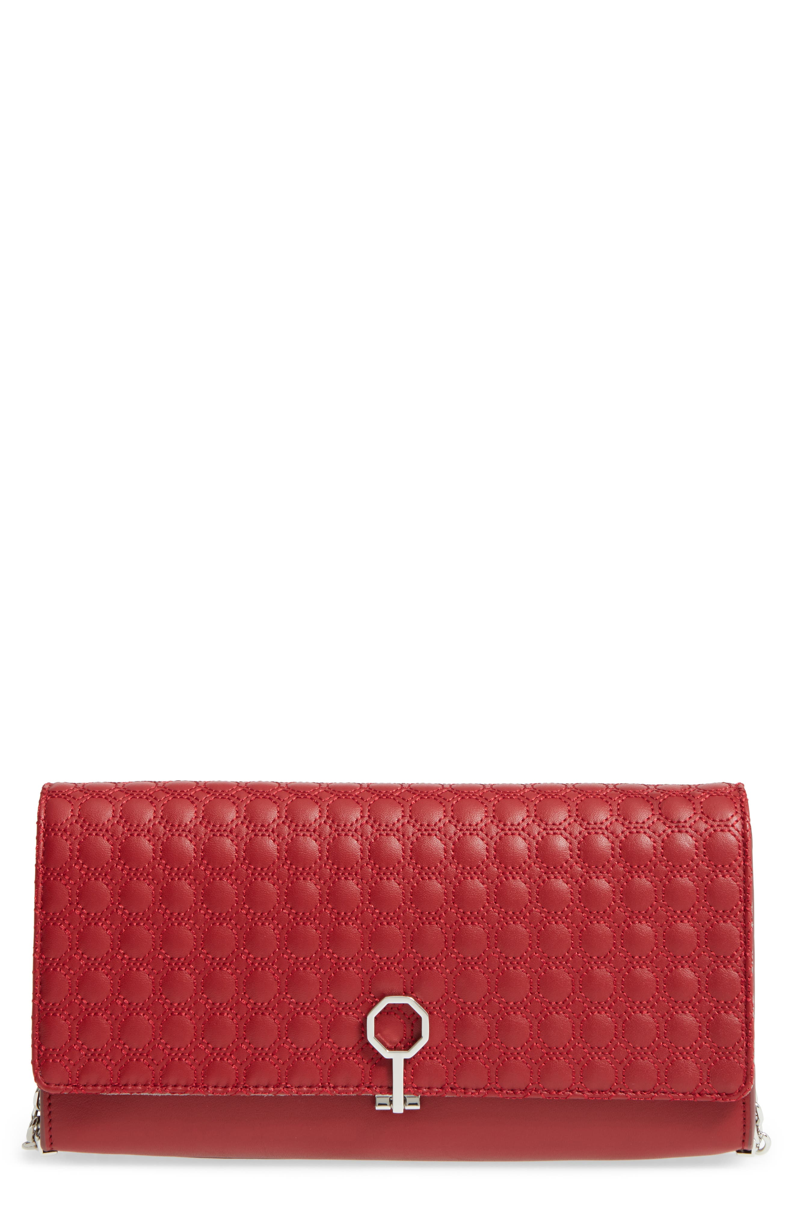 'Yvet' Leather Flap Clutch,                             Main thumbnail 1, color,                             Cherry Red