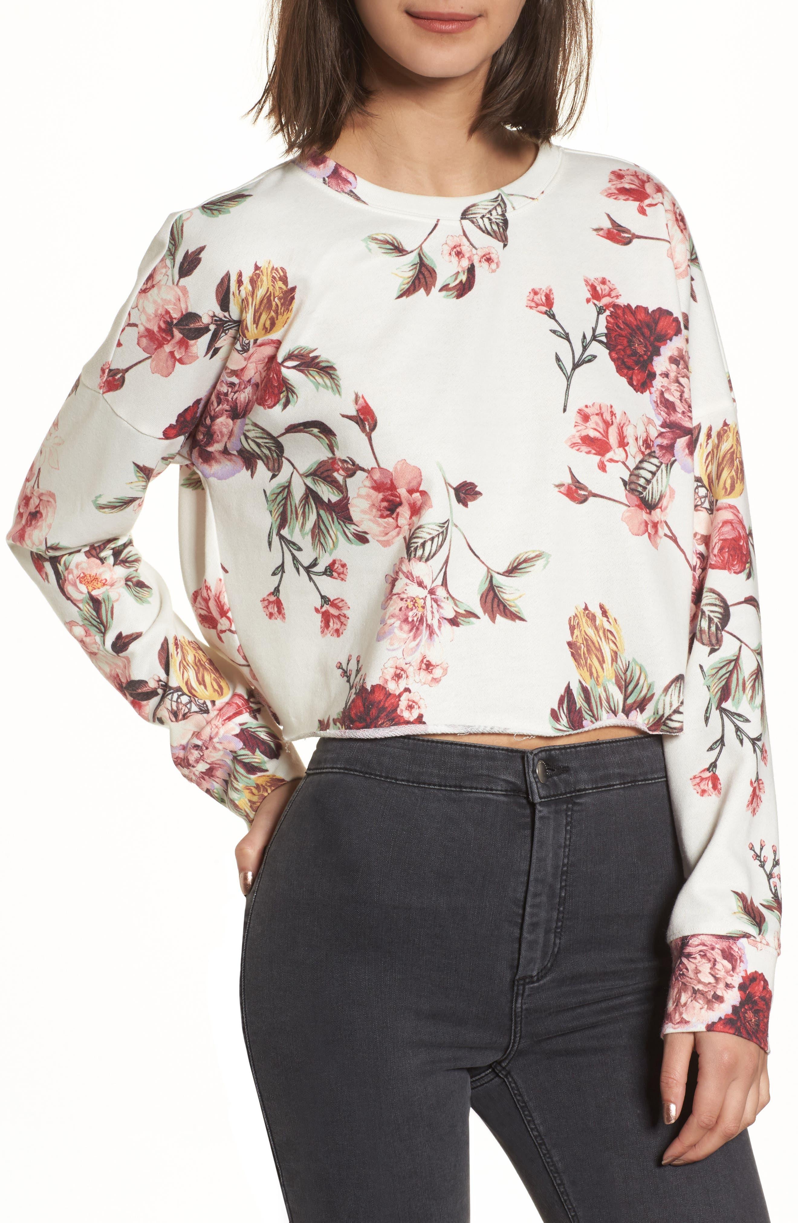 BP. Floral Print Crop Sweatshirt