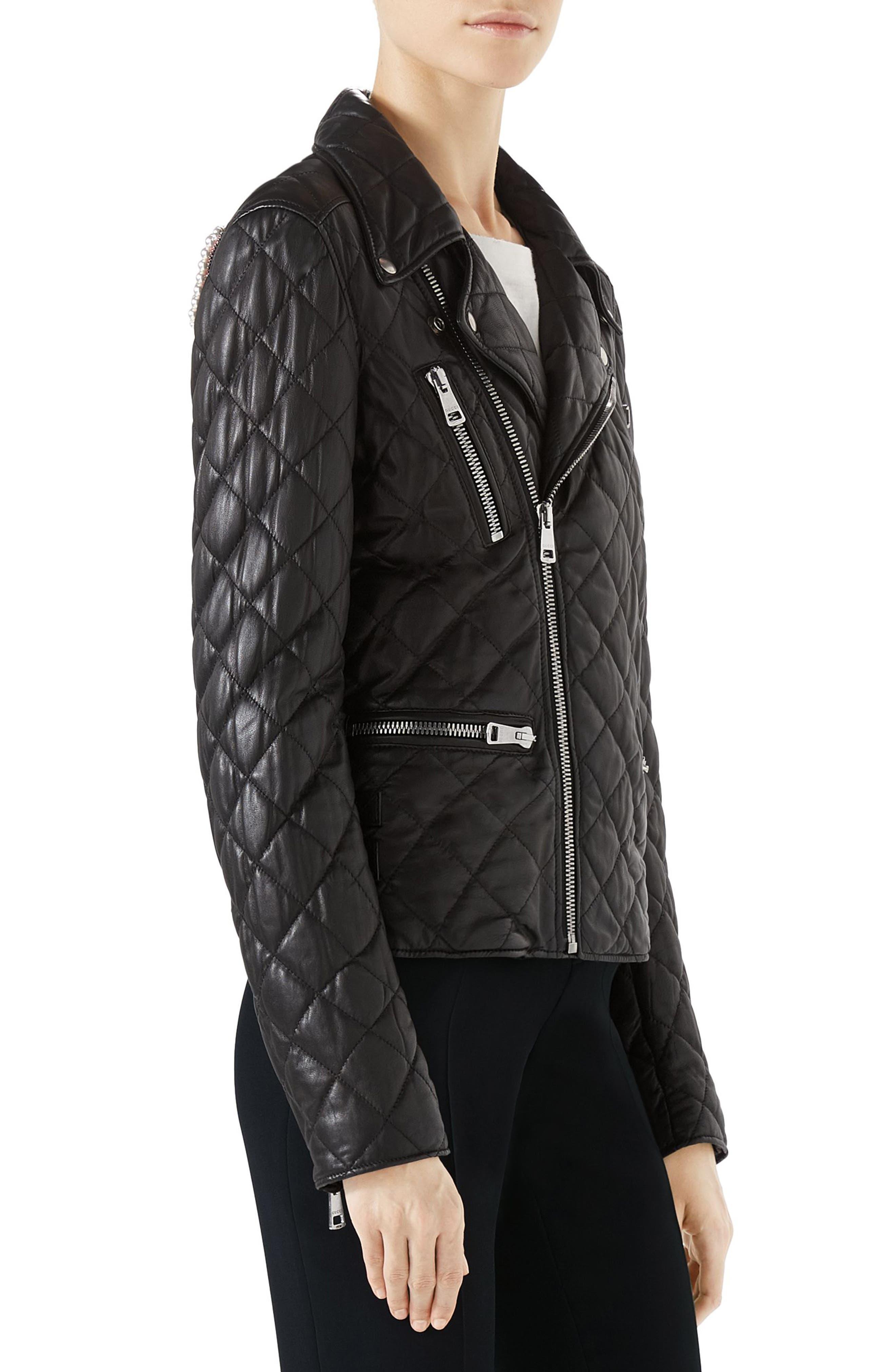 Logo Quilted Leather Biker Jacket,                             Alternate thumbnail 3, color,                             Black