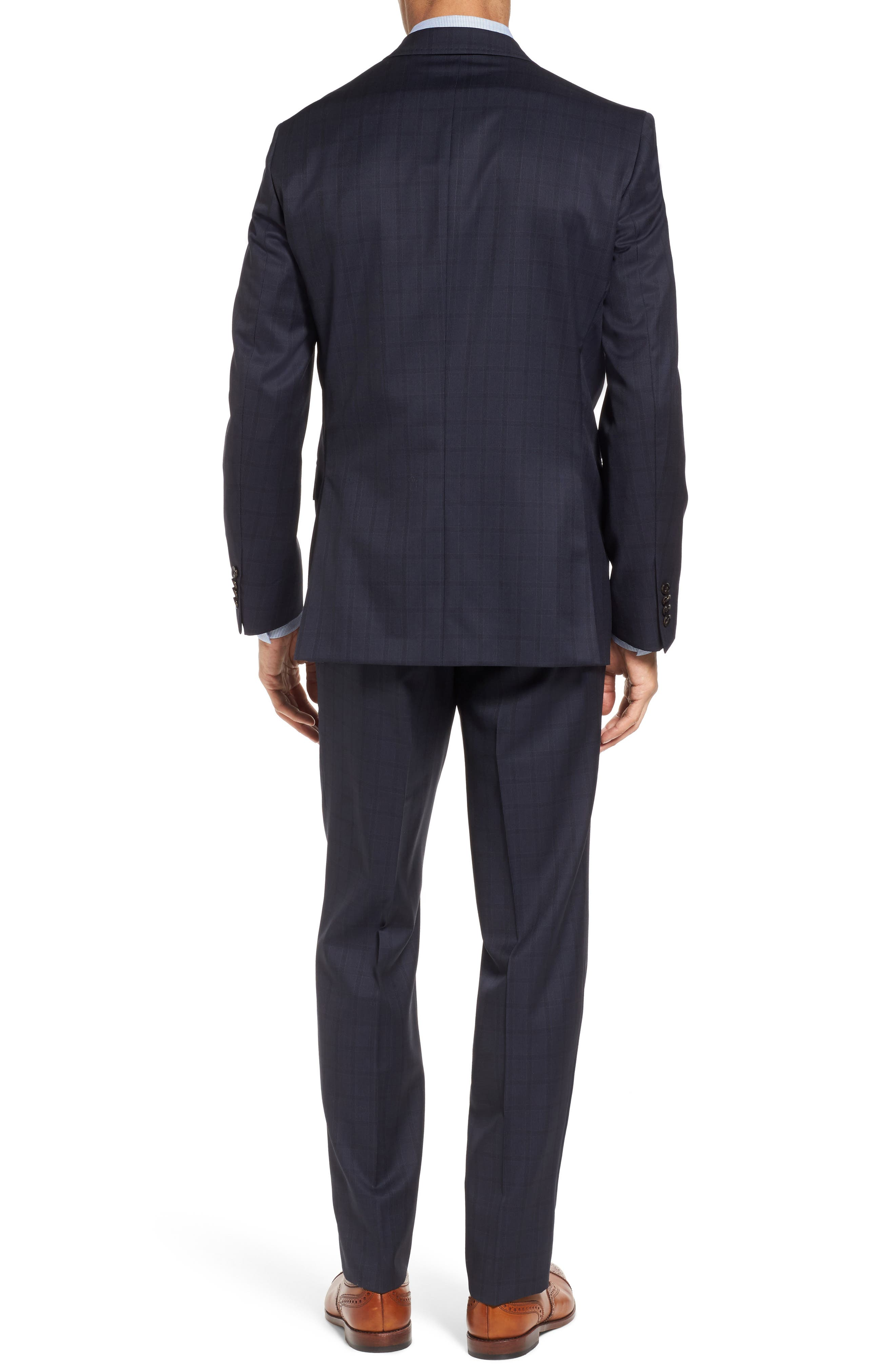 Jay Trim Fit Check Wool Suit,                             Alternate thumbnail 2, color,                             Navy