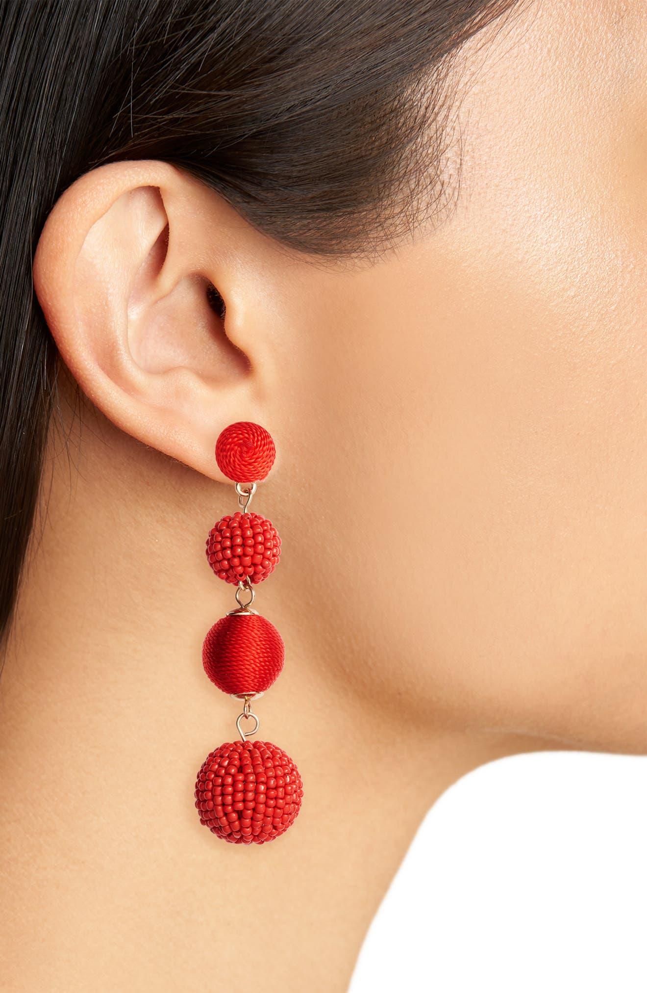 Alternate Image 2  - Tasha Mixed Bead & Thread Drop Earrings