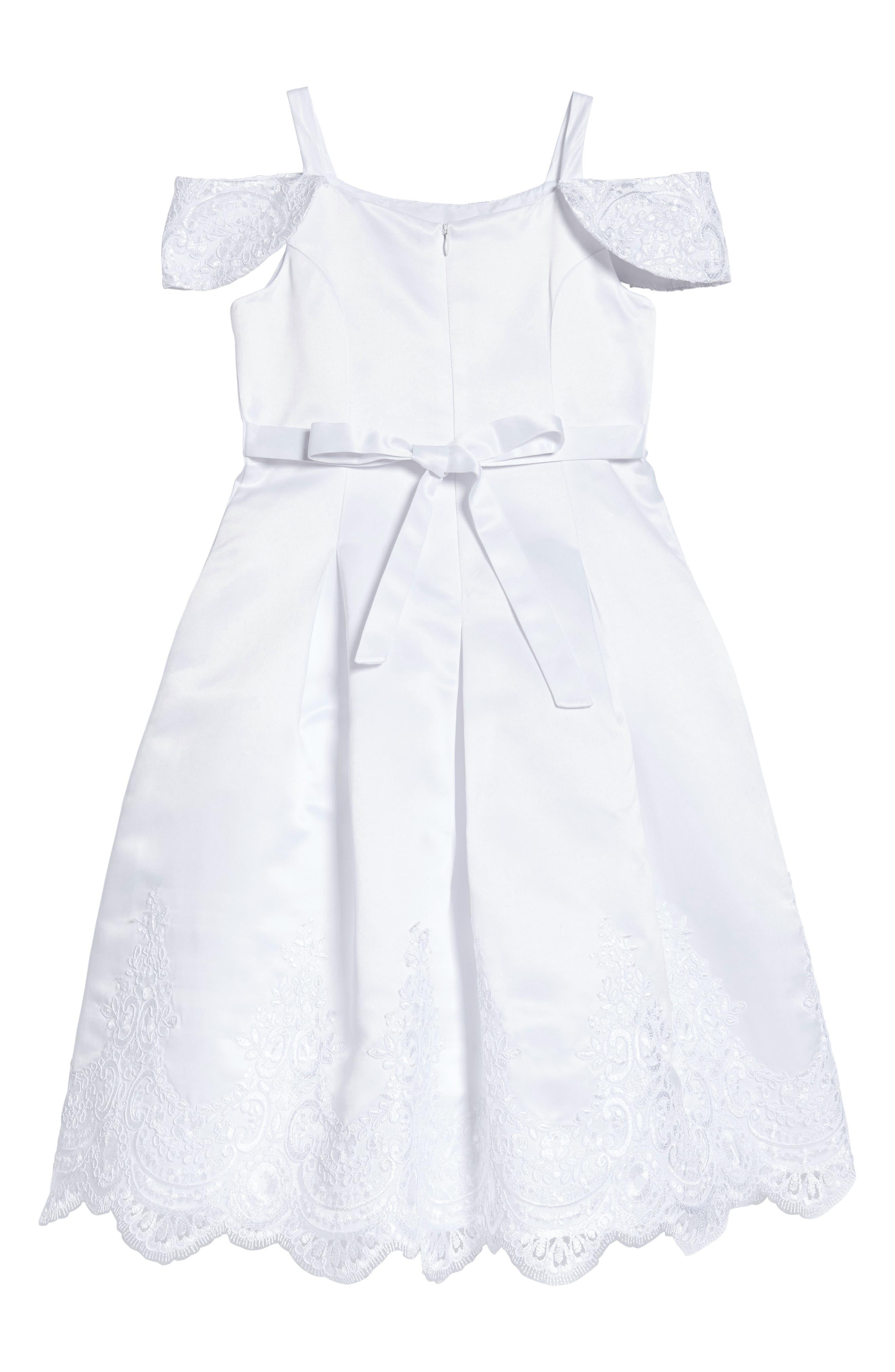 Embroidered Satin Dress,                             Alternate thumbnail 2, color,                             White