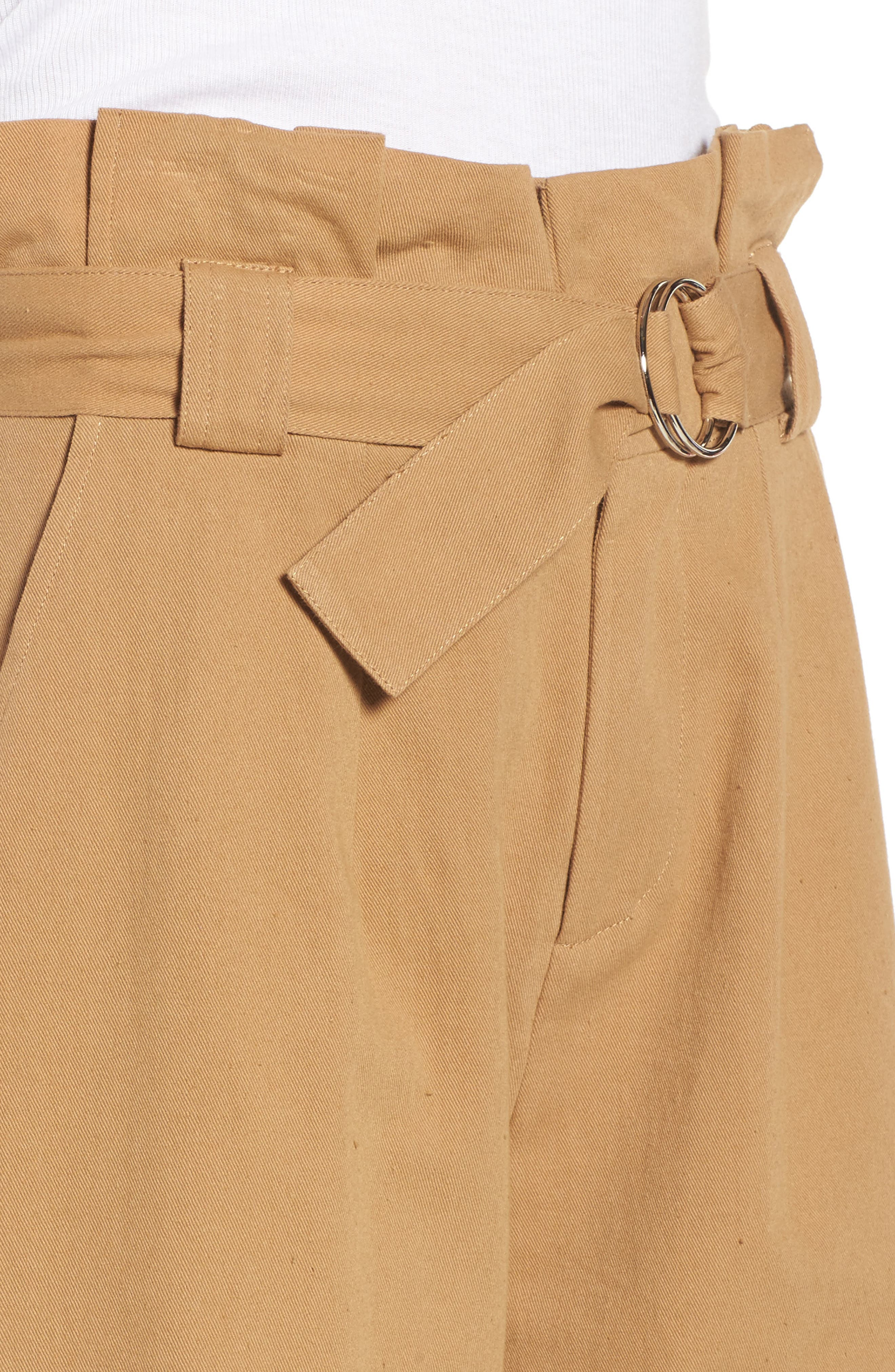 Paperbag Waist Crop Pants,                             Alternate thumbnail 4, color,                             Khaki