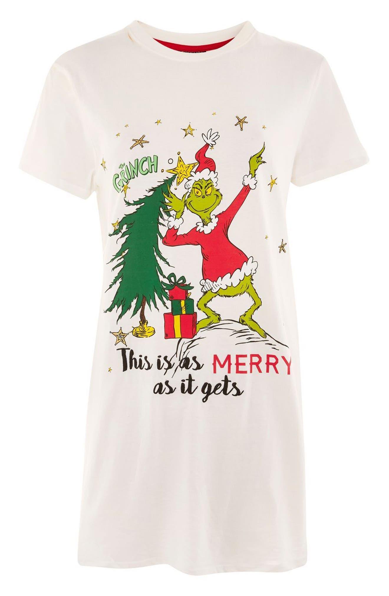 Grinch Christmas Sleep Shirt,                             Alternate thumbnail 3, color,                             White Multi