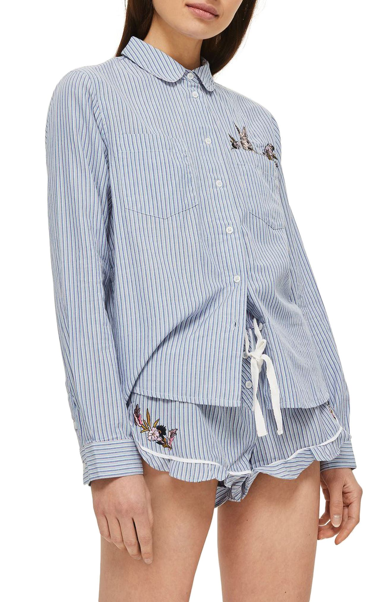 Bunny Embroidered Short Pajamas,                         Main,                         color, Pink Multi
