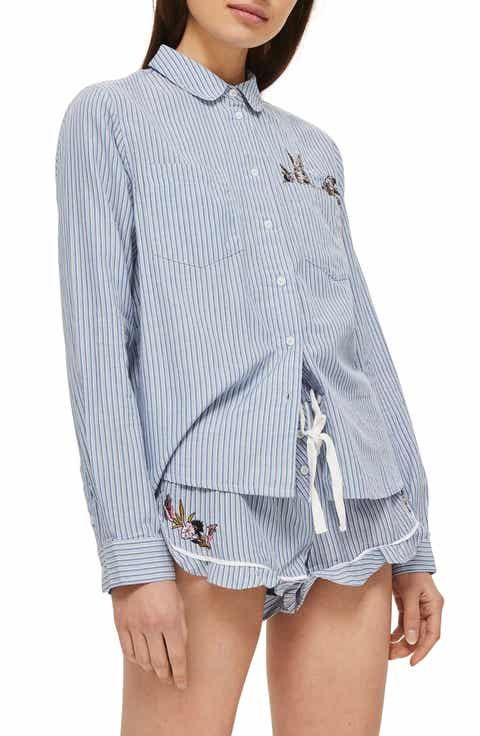 Topshop Bunny Embroidered Short Pajamas