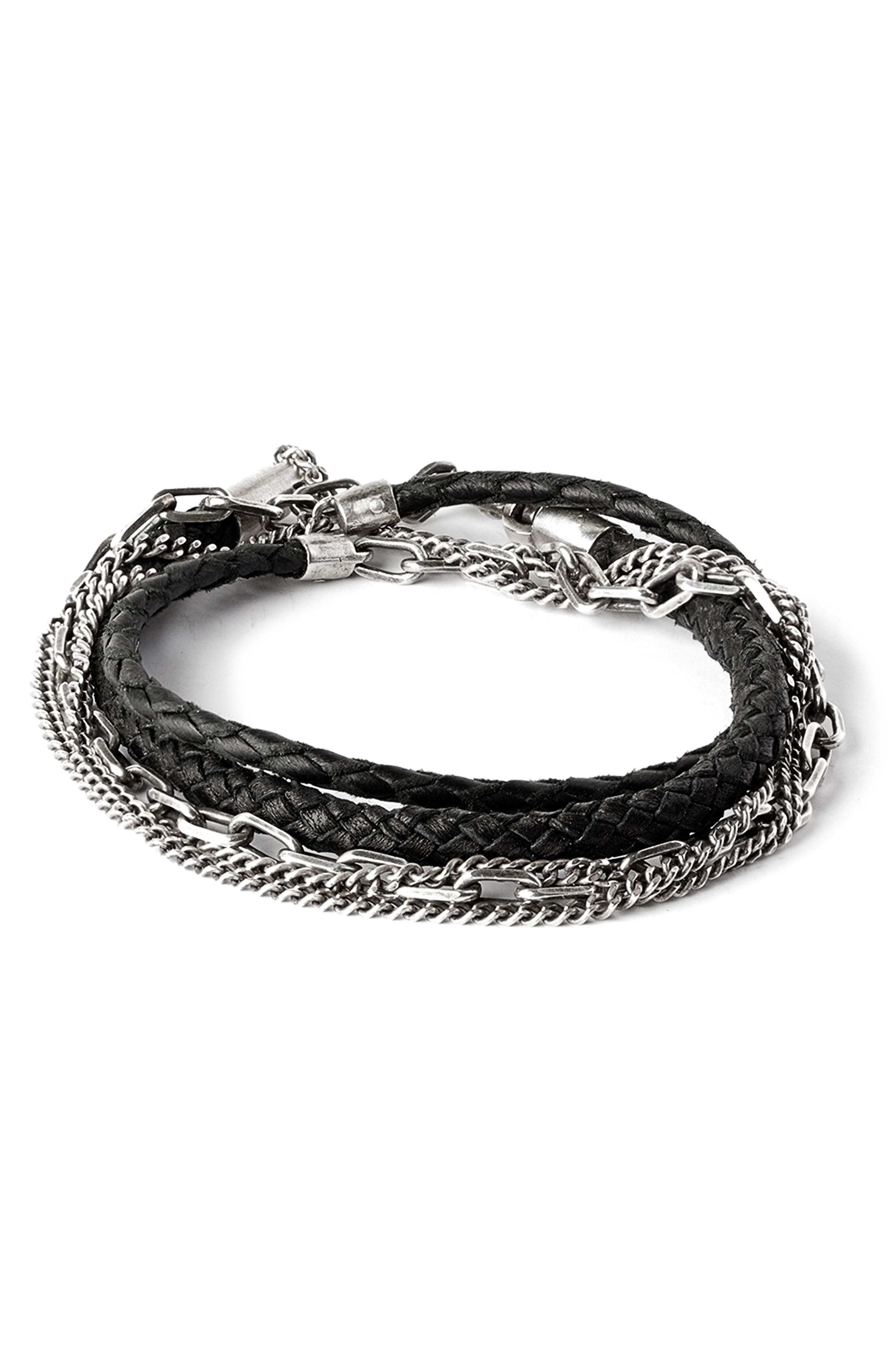 Braided Leather & Chain Multi Wrap Bracelet,                             Main thumbnail 1, color,                             Black/Silver