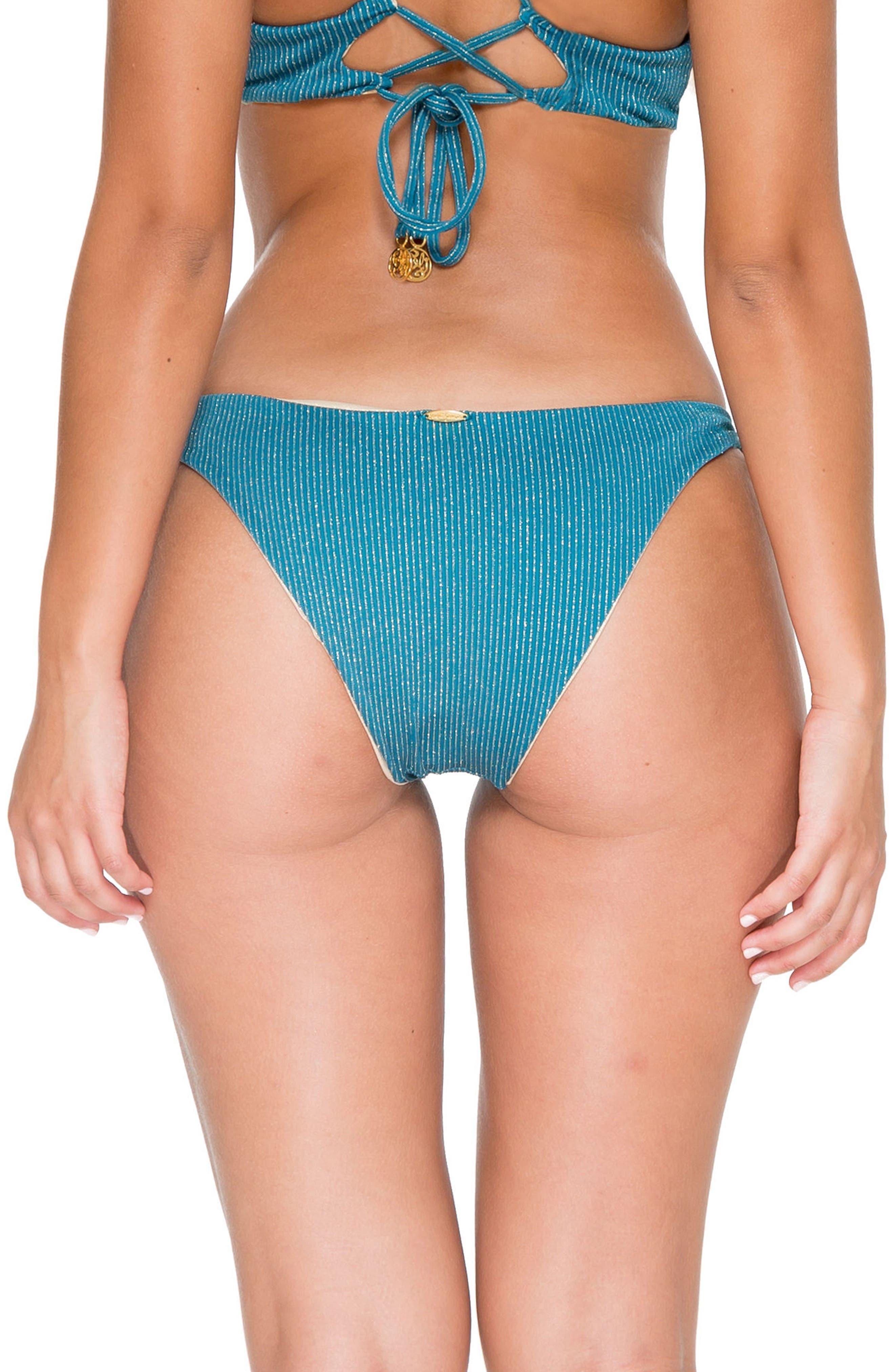 Cayo Hueso Reversible Bikini Bottoms,                             Alternate thumbnail 2, color,                             Miramar Blue/ Gold