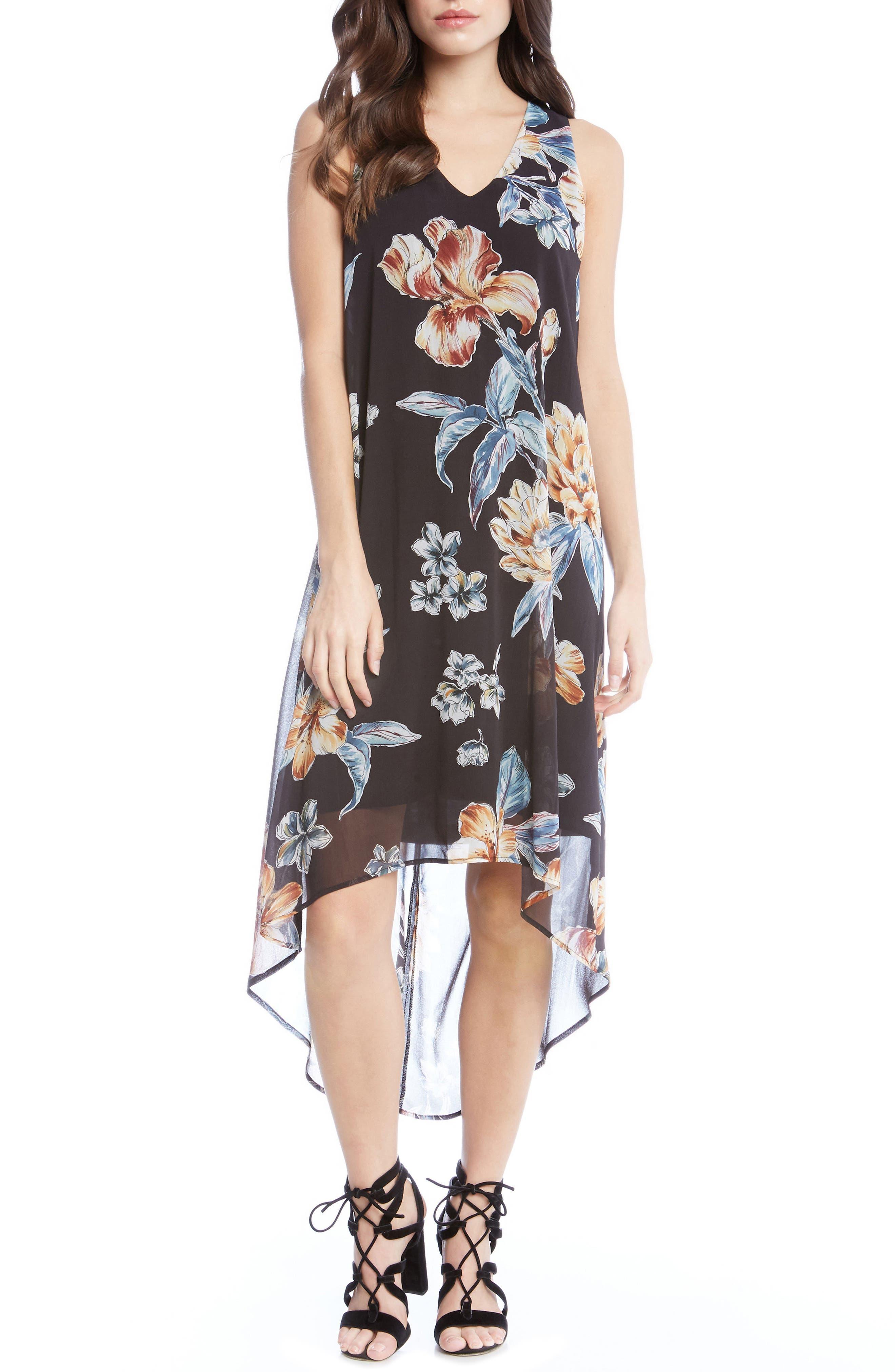 Main Image - Karen Kane High/Low Floral A-Line Dress