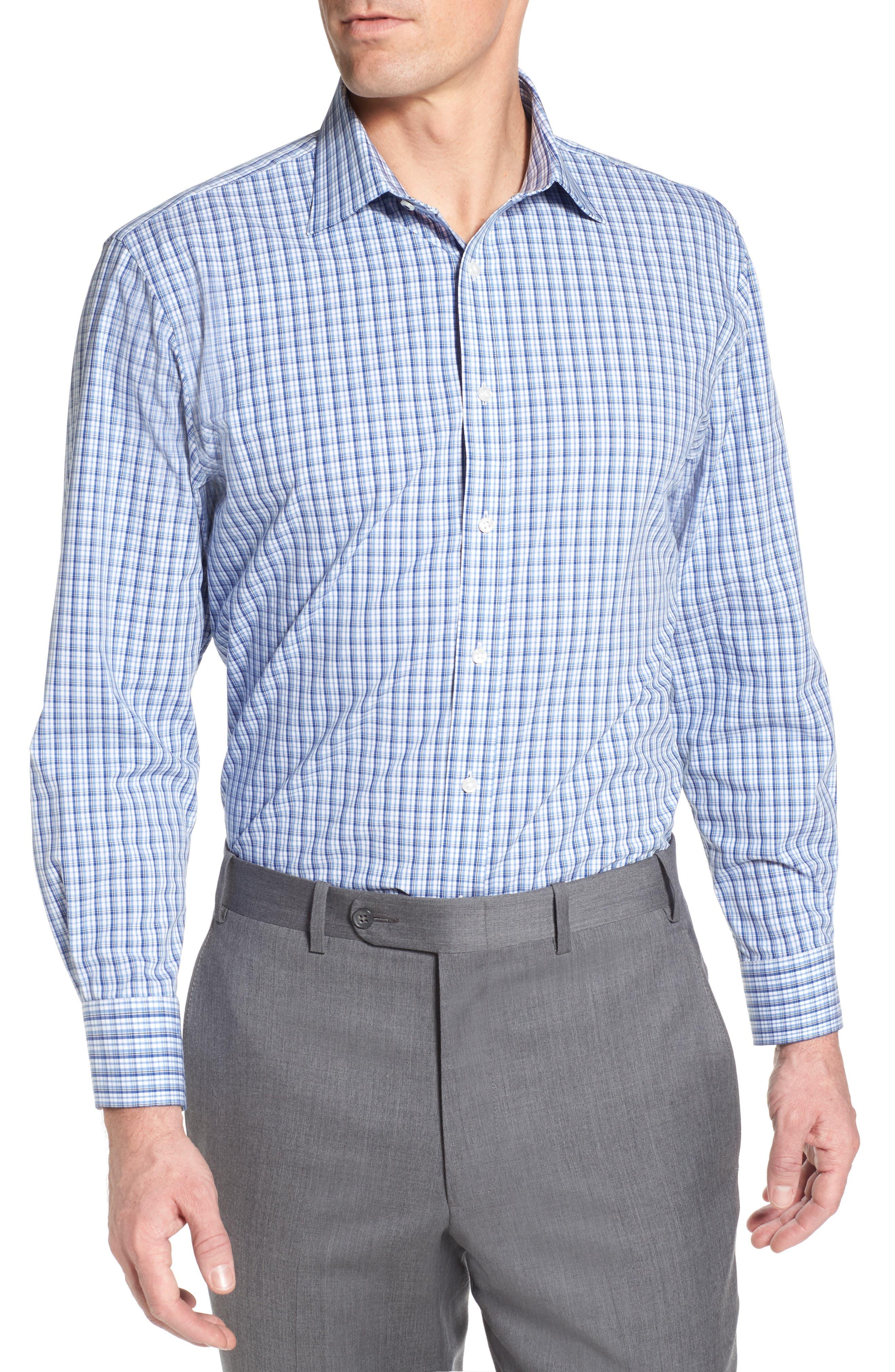 Tech-Smart Traditional Fit Stretch Plaid Dress Shirt,                         Main,                         color, Blue True