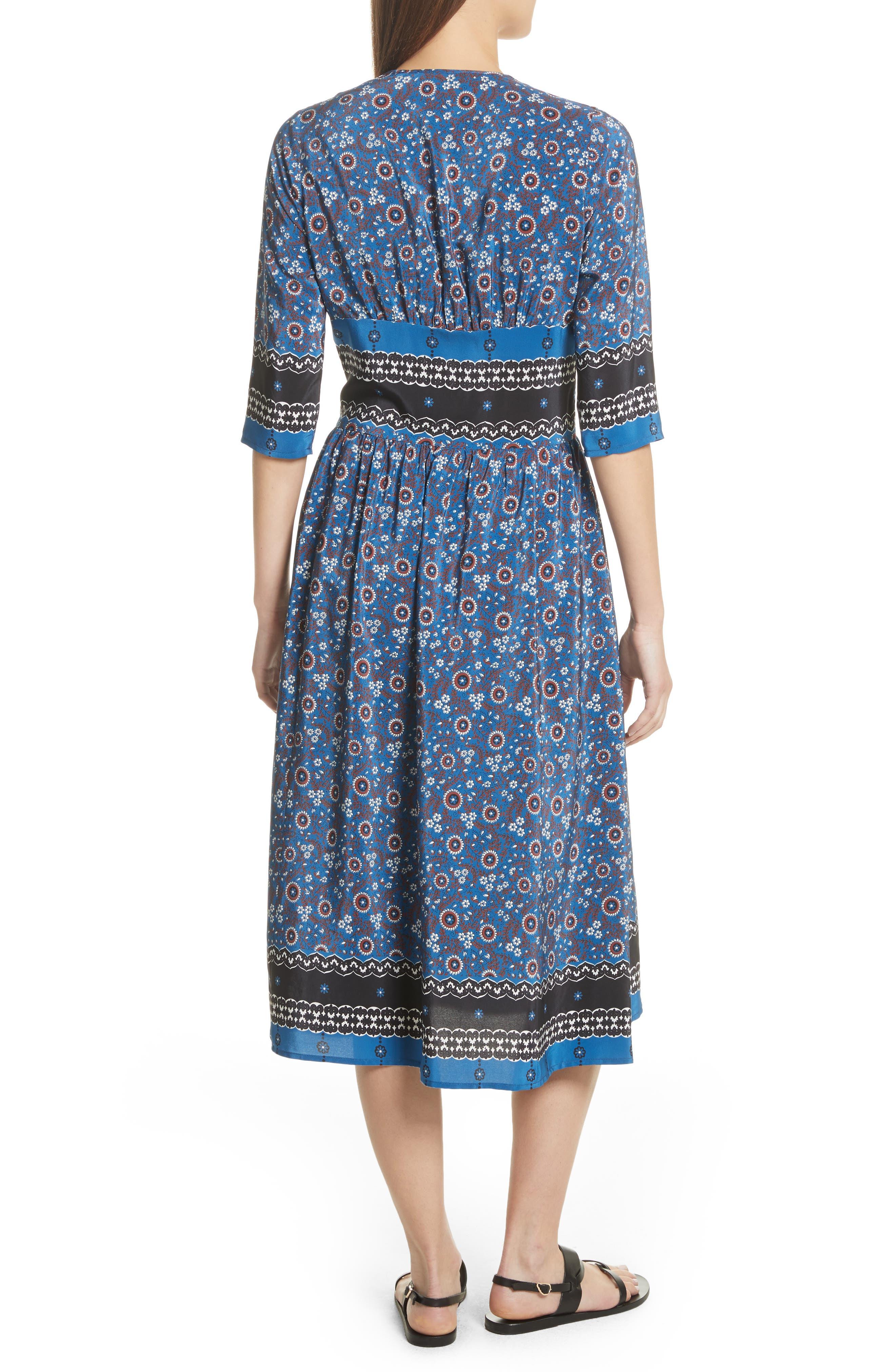 Tallulah Empire Waist Silk Midi Dress,                             Alternate thumbnail 2, color,                             Blue Multi