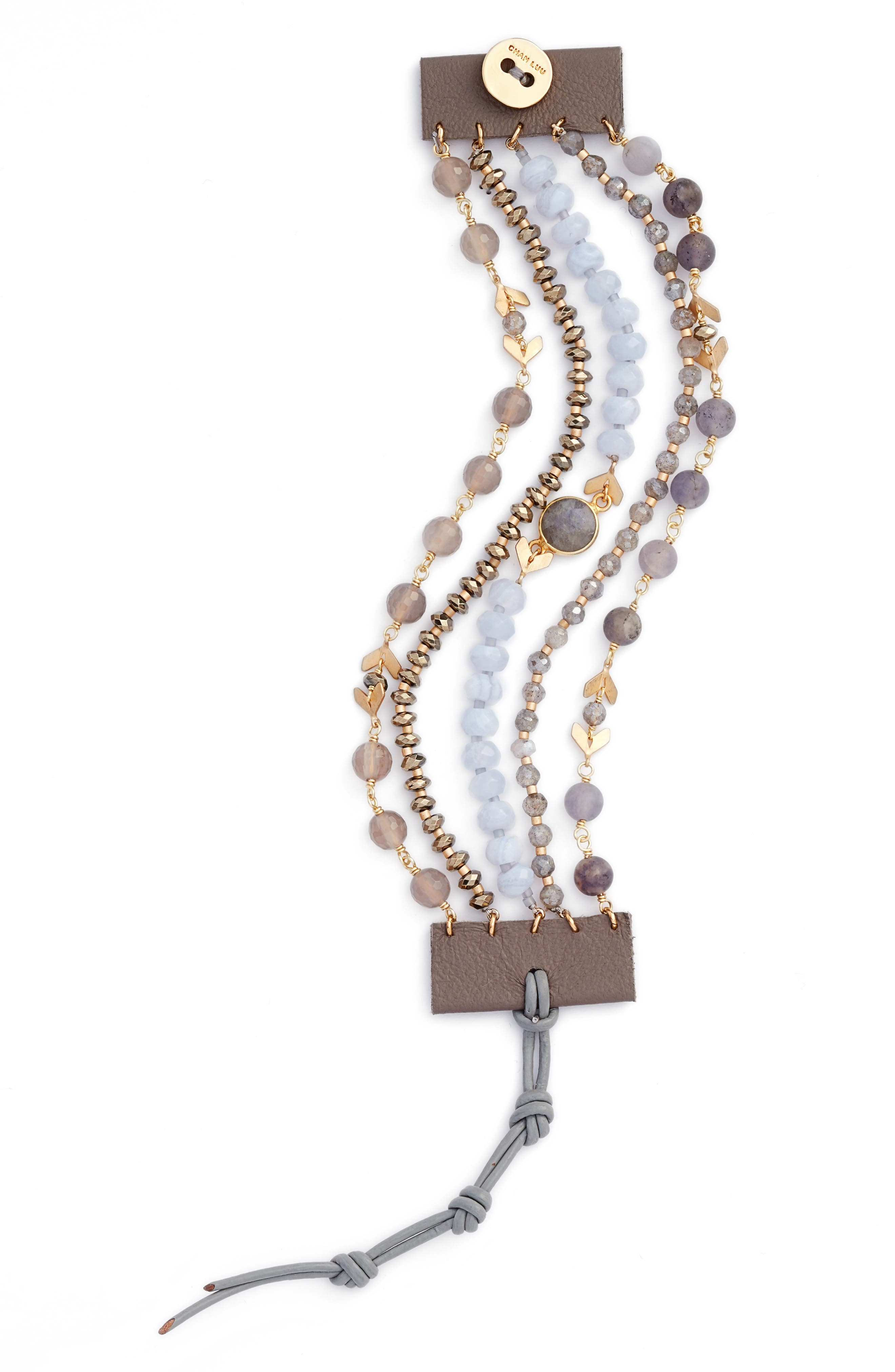 Multistrand Semiprecious Stone Bracelet,                             Main thumbnail 1, color,                             Blue Lace Agate Mix